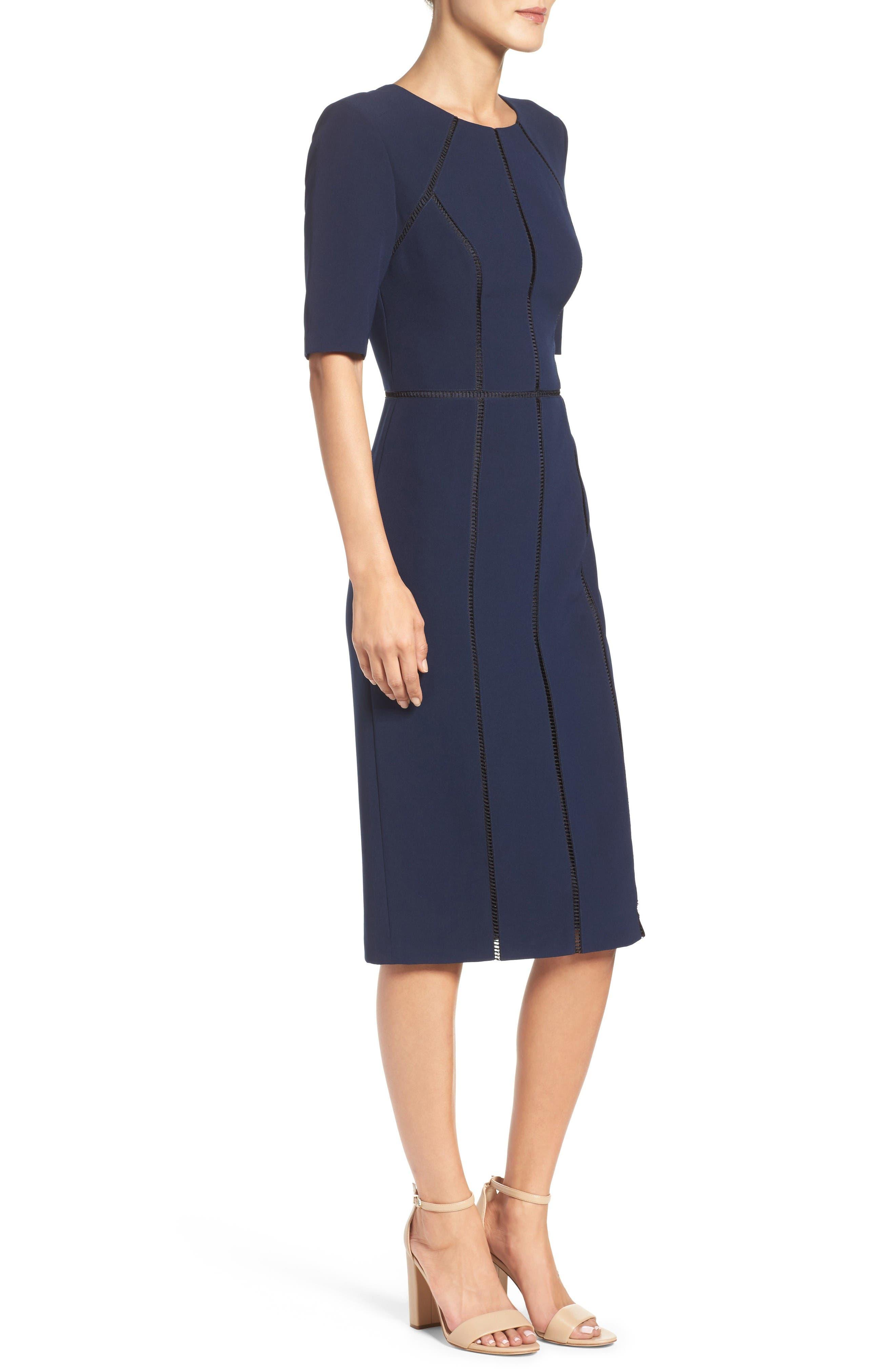 Solid Dream Crepe Dress,                             Alternate thumbnail 3, color,                             Patriot Blue