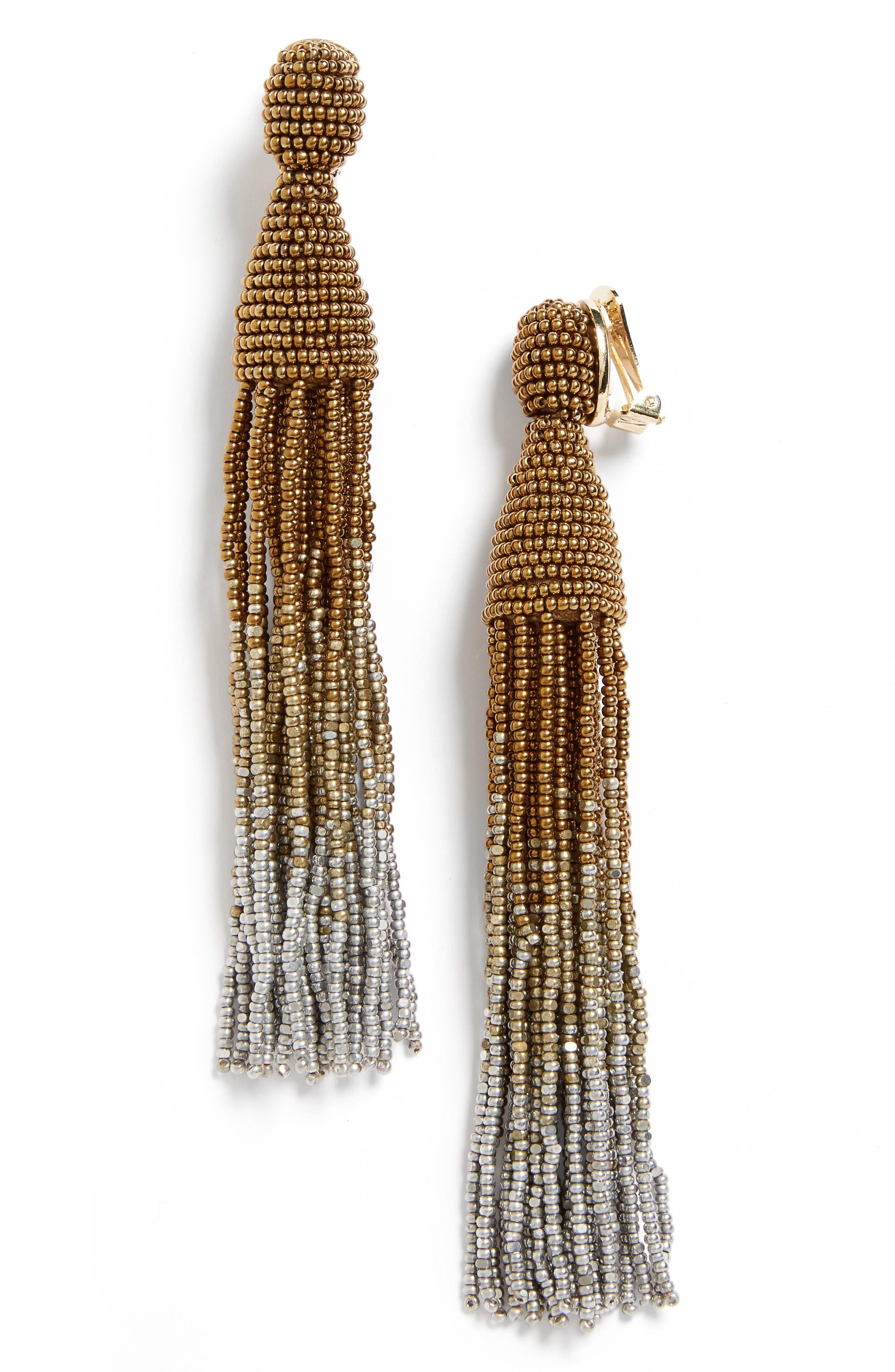 Ombré Long Tassel Clip Earrings,                         Main,                         color, Gold Multi
