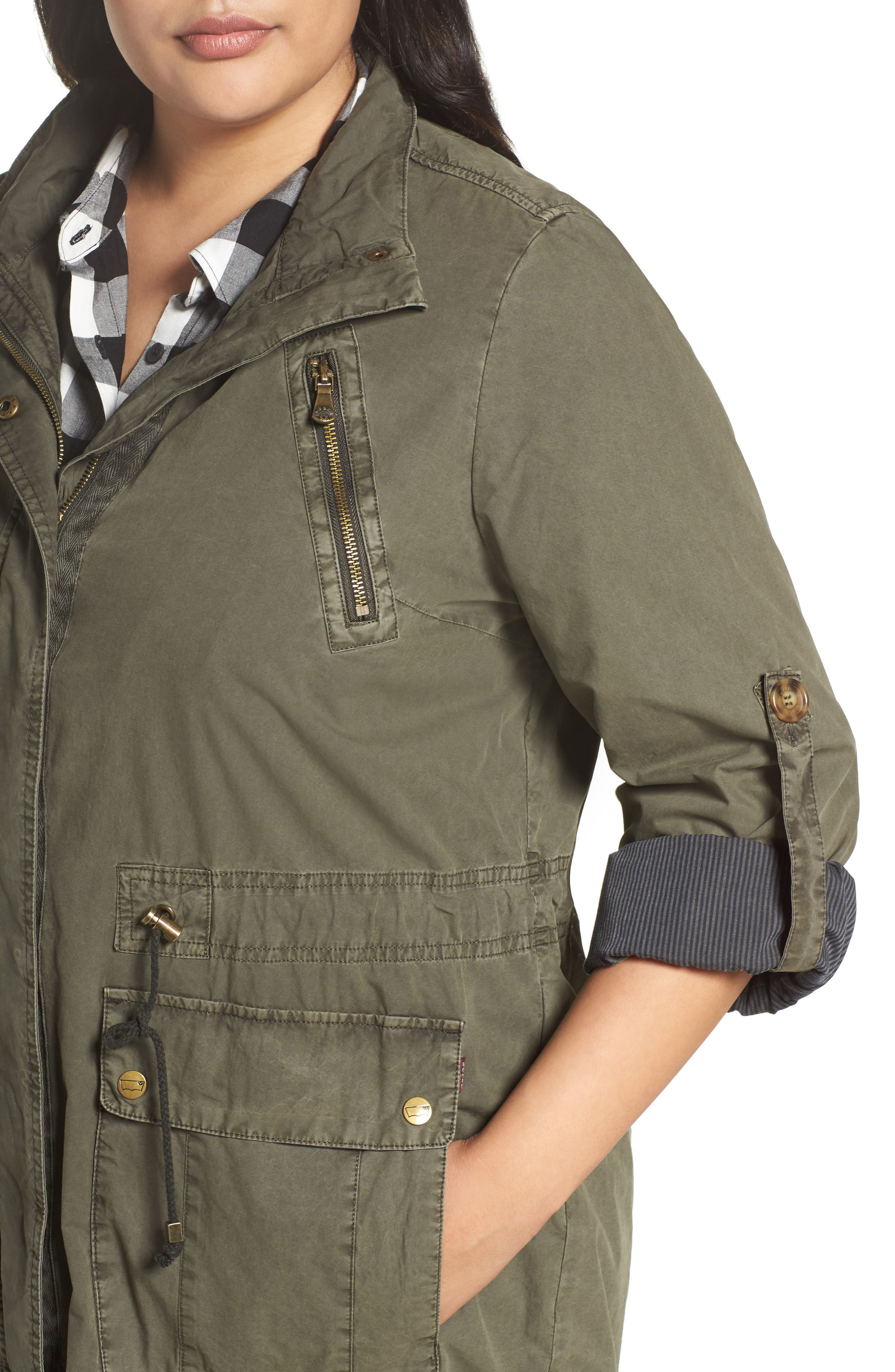 Roll-Sleeve Anorak,                             Alternate thumbnail 3, color,                             Army Green