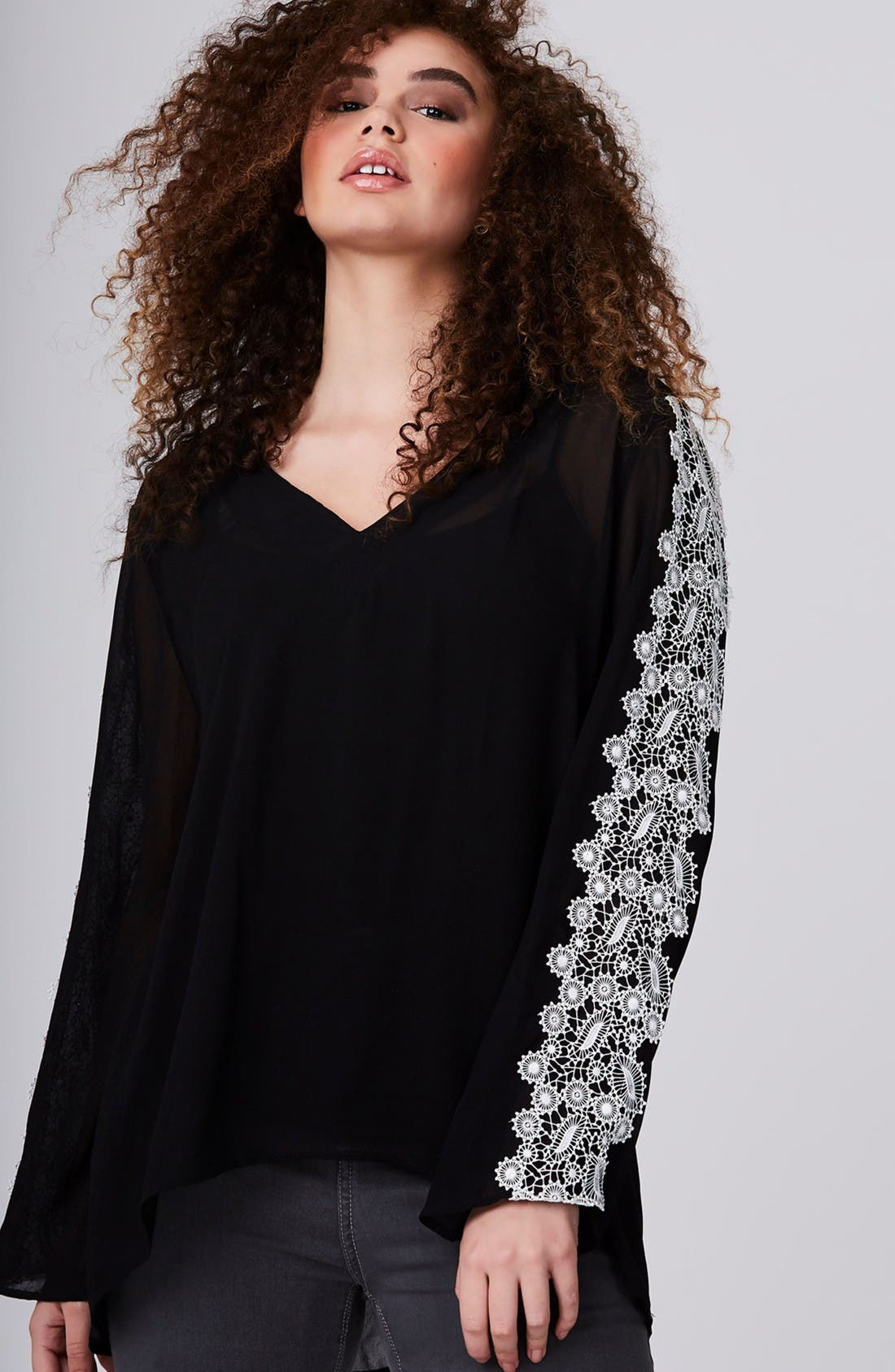 Embroidered Sleeve Blouse,                             Alternate thumbnail 2, color,                             Black