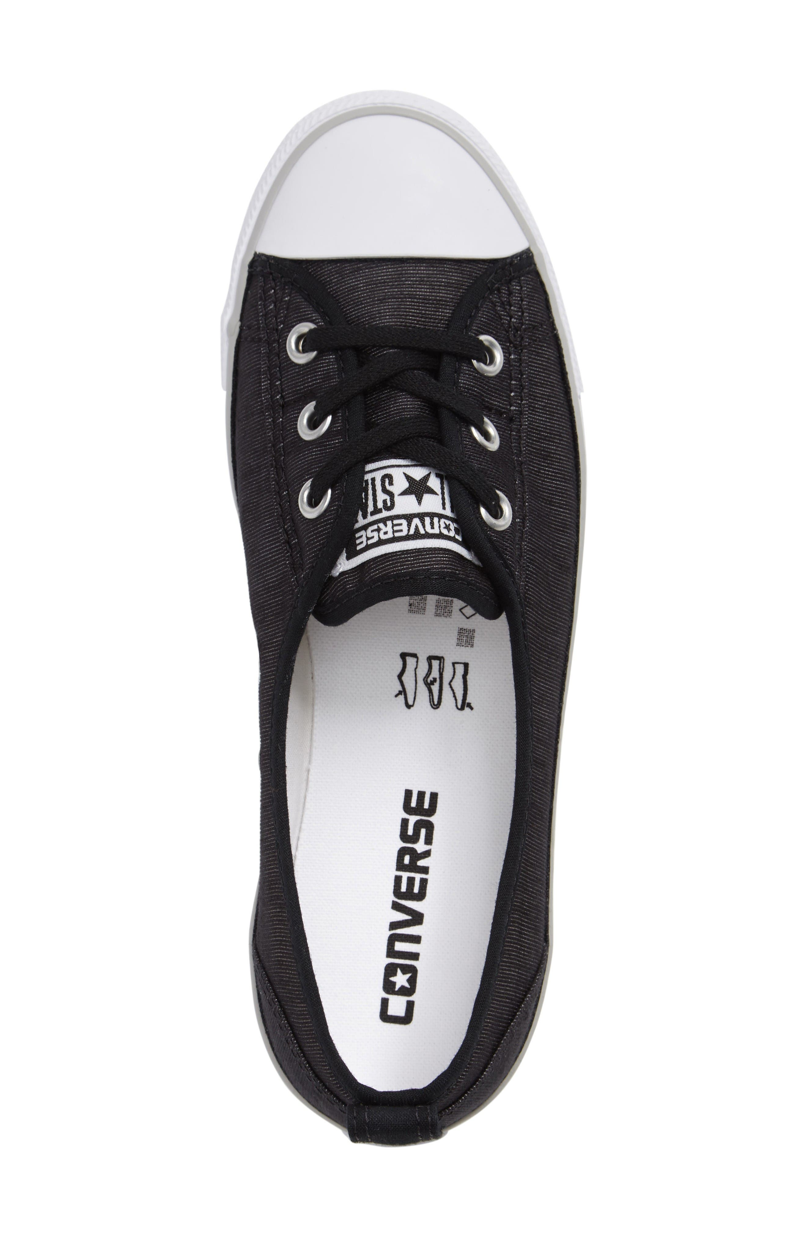Chuck Taylor<sup>®</sup> All Star<sup>®</sup> Ballet Canvas Sneaker,                             Alternate thumbnail 3, color,                             Black/ White/ Mouse