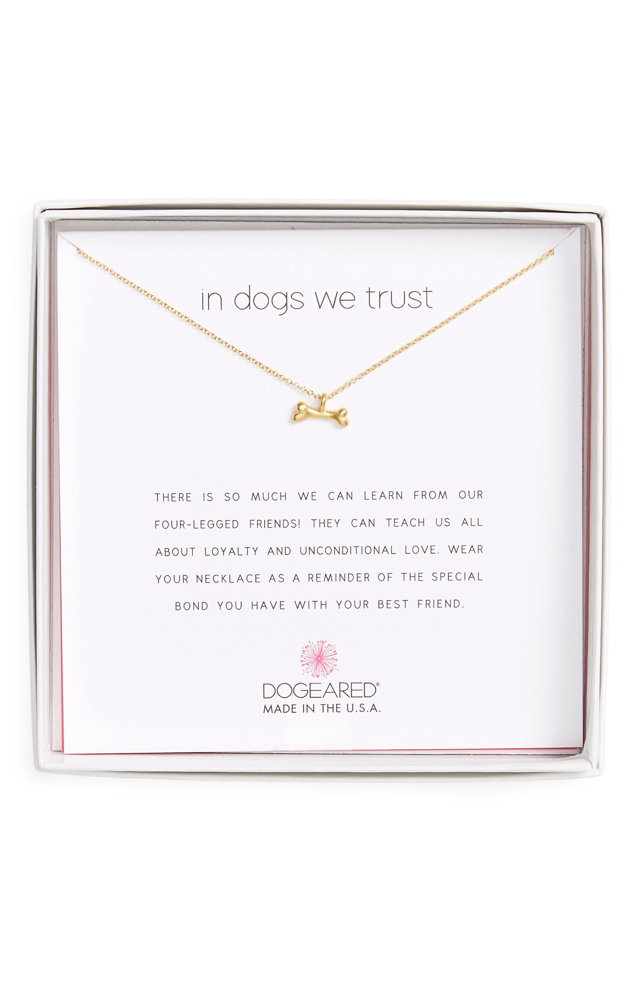 In Dogs We Trust Pendant Necklace,                             Alternate thumbnail 4, color,                             Gold