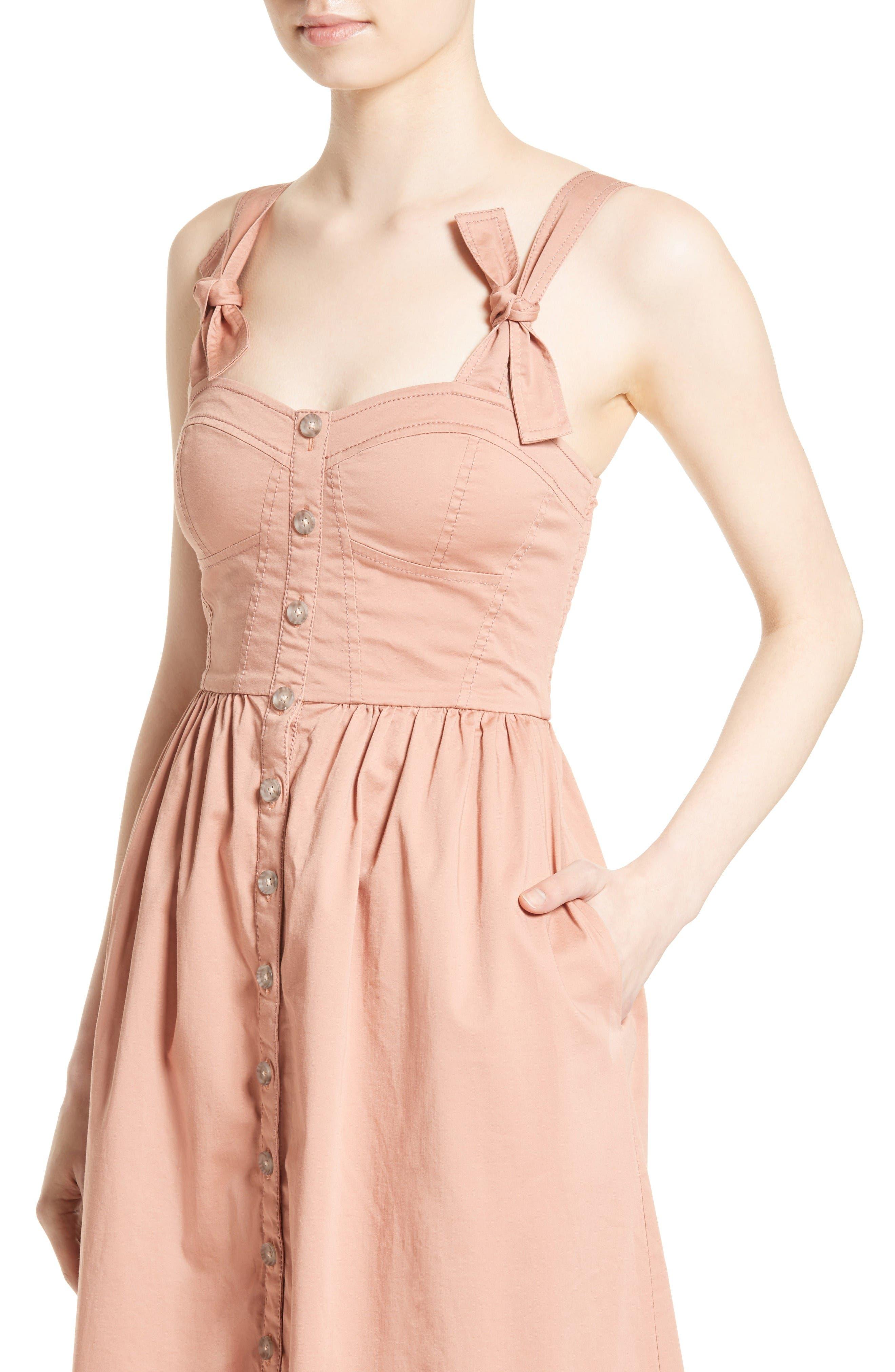 Alternate Image 4  - Rebecca Taylor Stretch Cotton Midi Dress