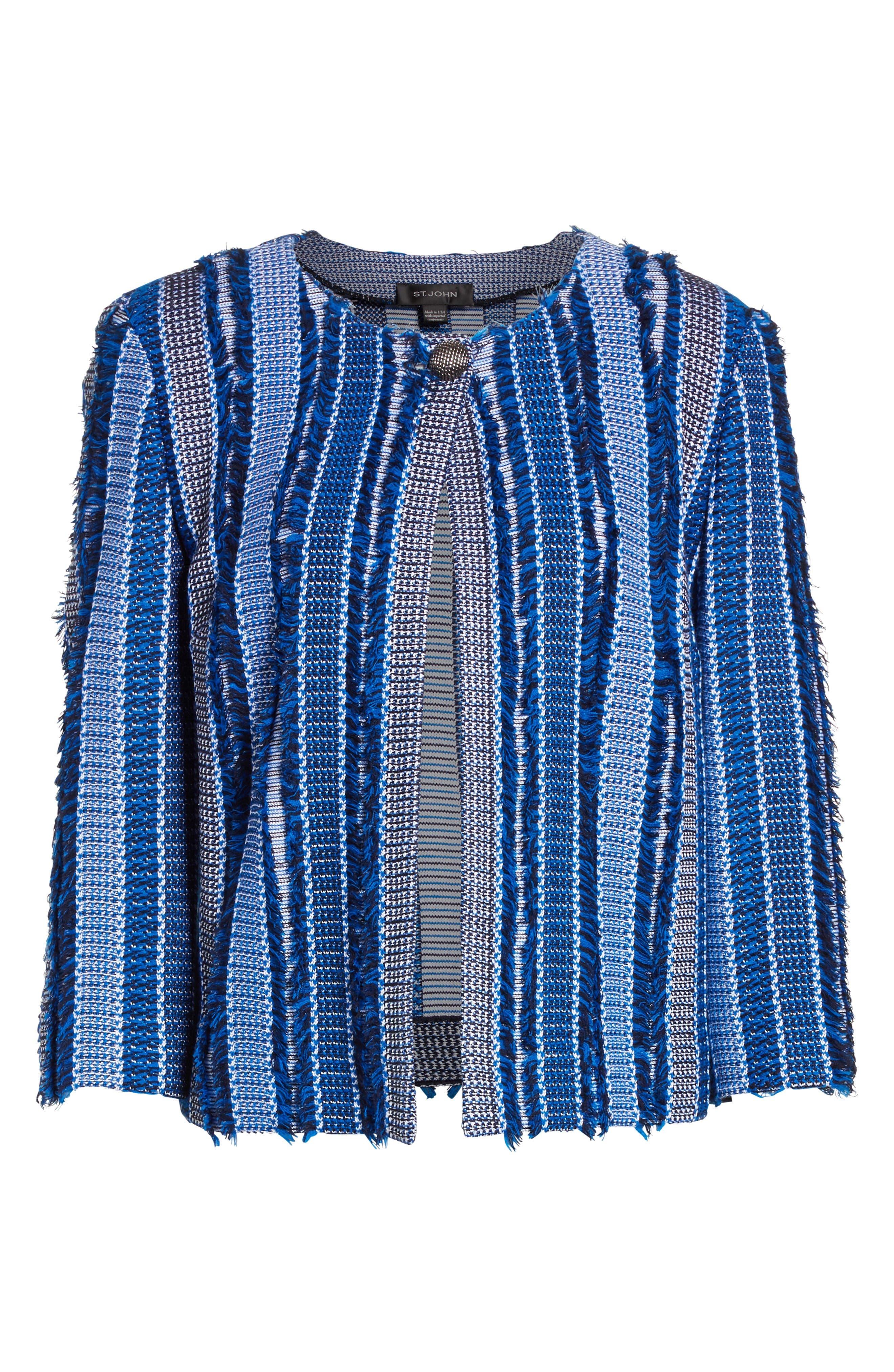 Damik Fil Coupé Knit Jacket,                             Alternate thumbnail 6, color,                             Jaya Blue Multi