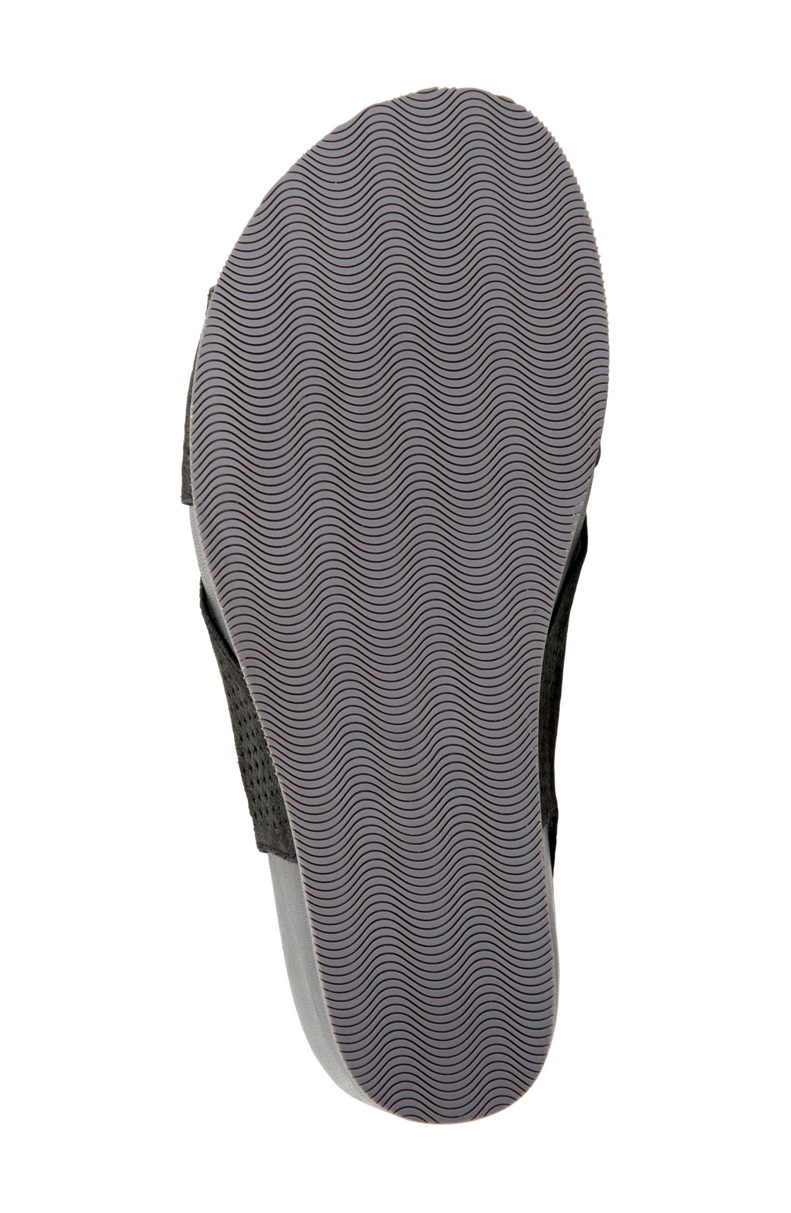 Hansford Wedge Sandal,                             Alternate thumbnail 4, color,                             Black Nubuck Leather