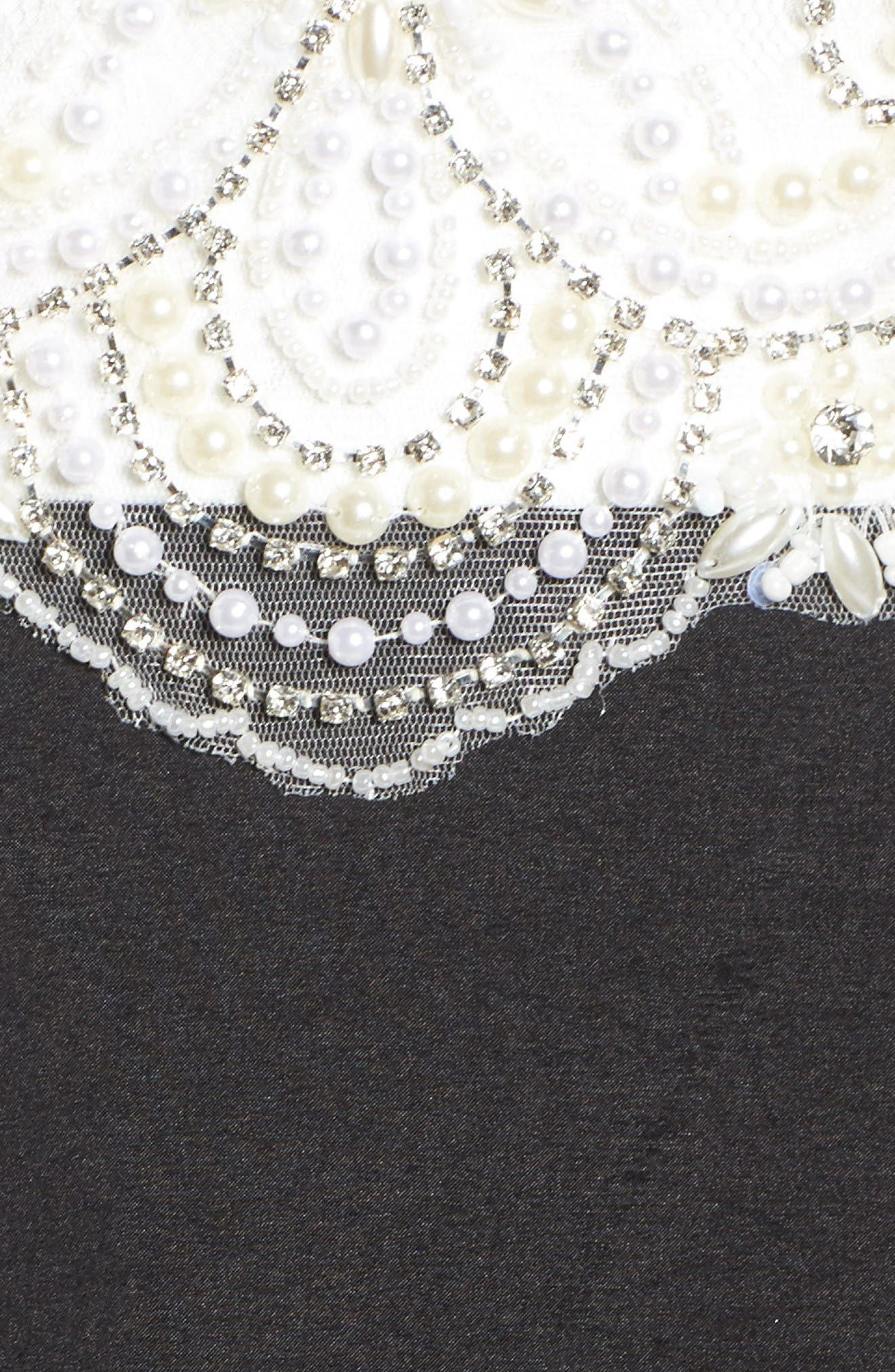 Embellished Lace & Taffeta Ballgown,                             Alternate thumbnail 5, color,                             Black White