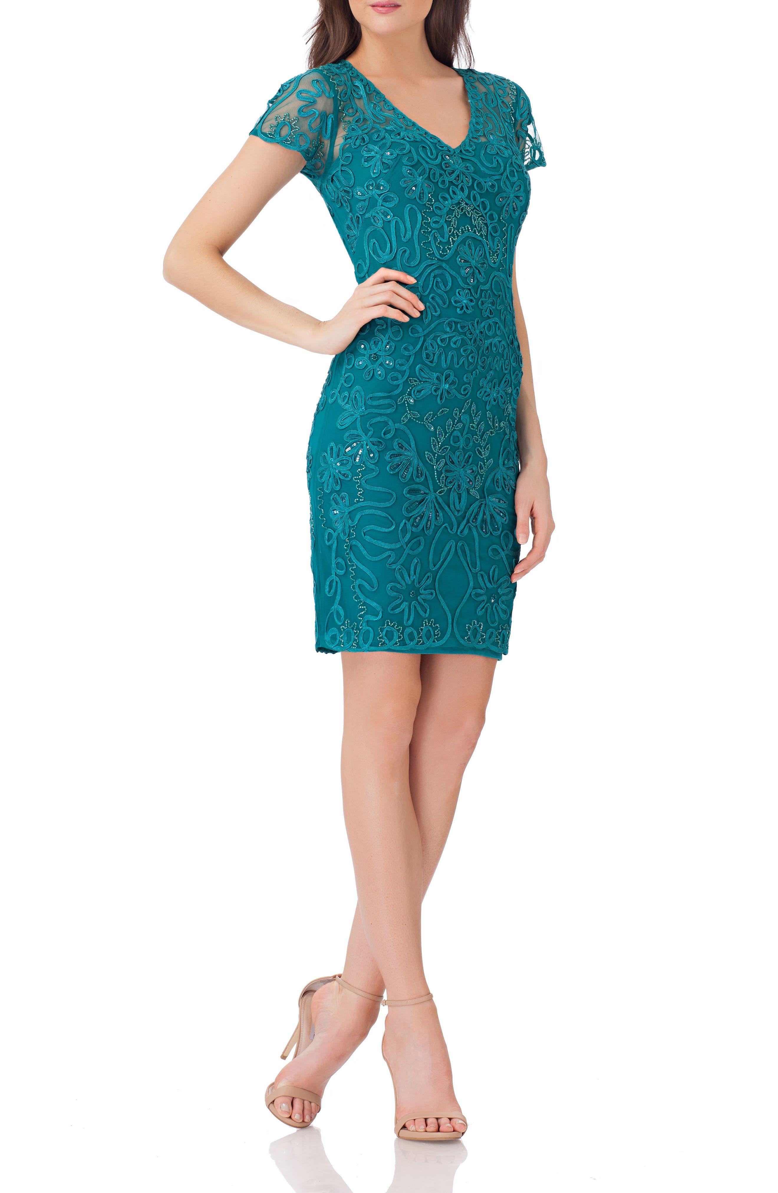 Embellished Soutache Sheath Dress,                             Alternate thumbnail 3, color,                             Jade