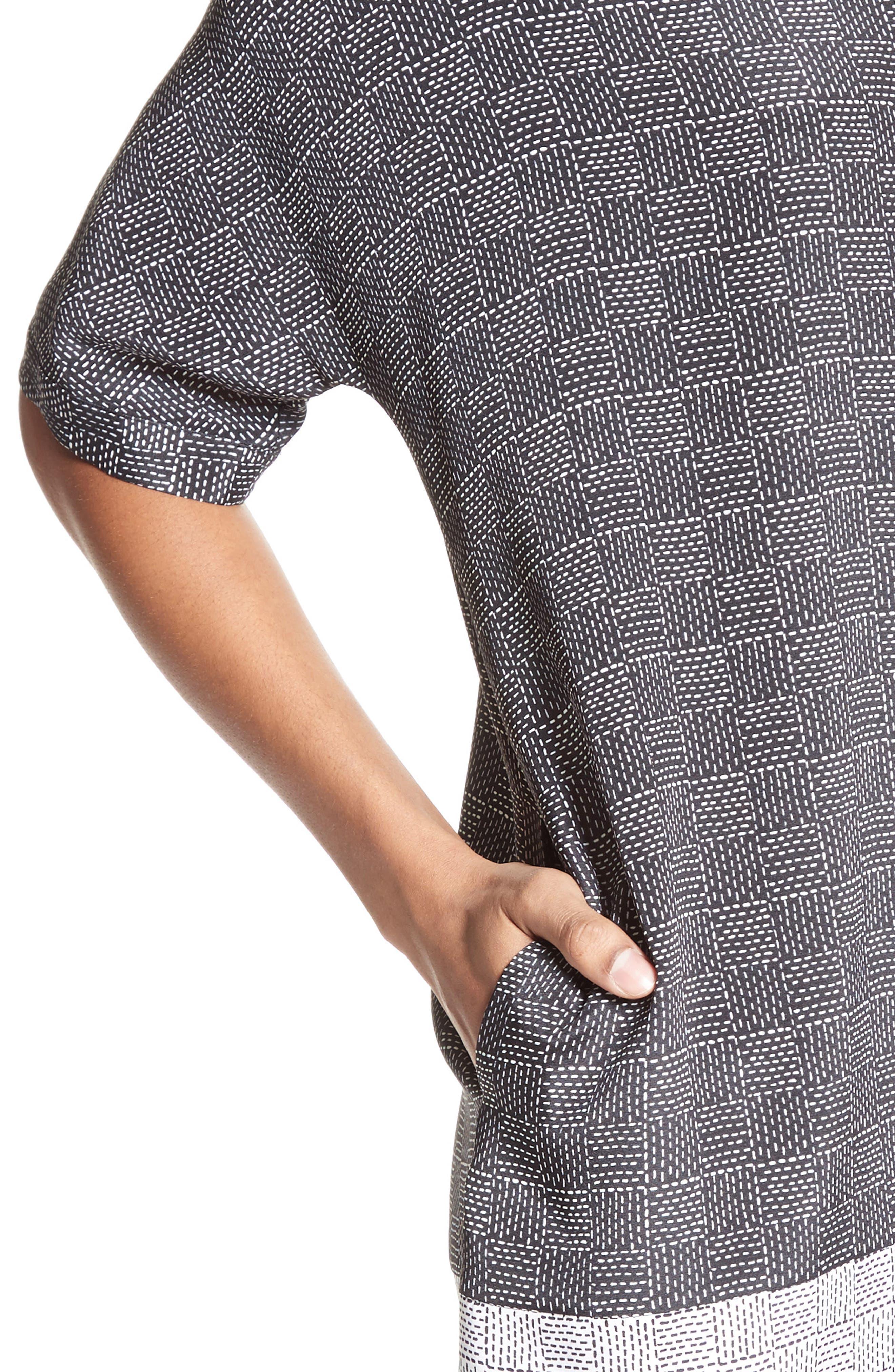 Alternate Image 4  - St. John Collection Stitching Print Stretch Silk Shirtdress