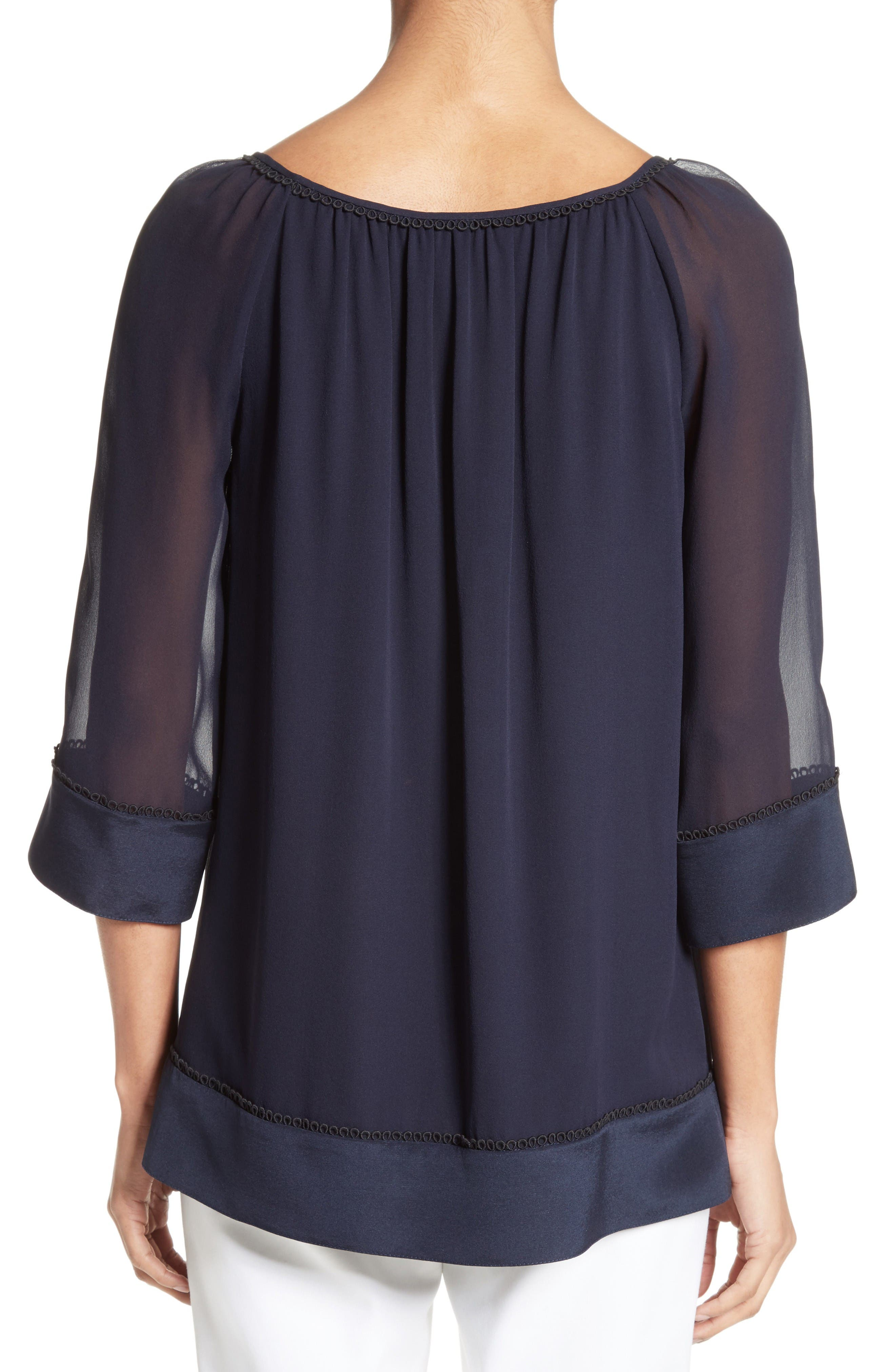Alternate Image 2  - St. John Collection Silk Georgette Blouse