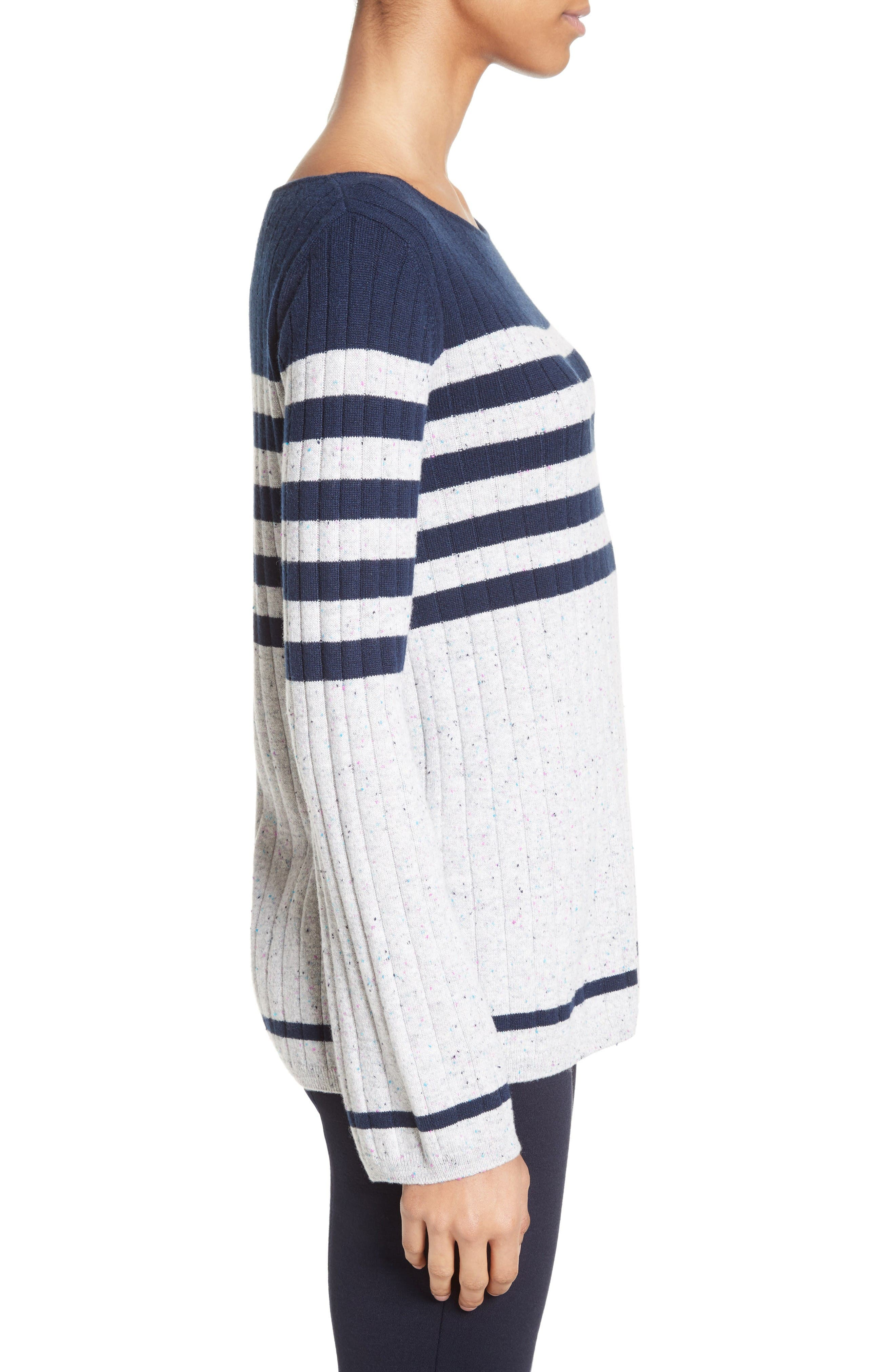 Side Button Stripe Cashmere Sweater,                             Alternate thumbnail 3, color,                             Navy/ Mica