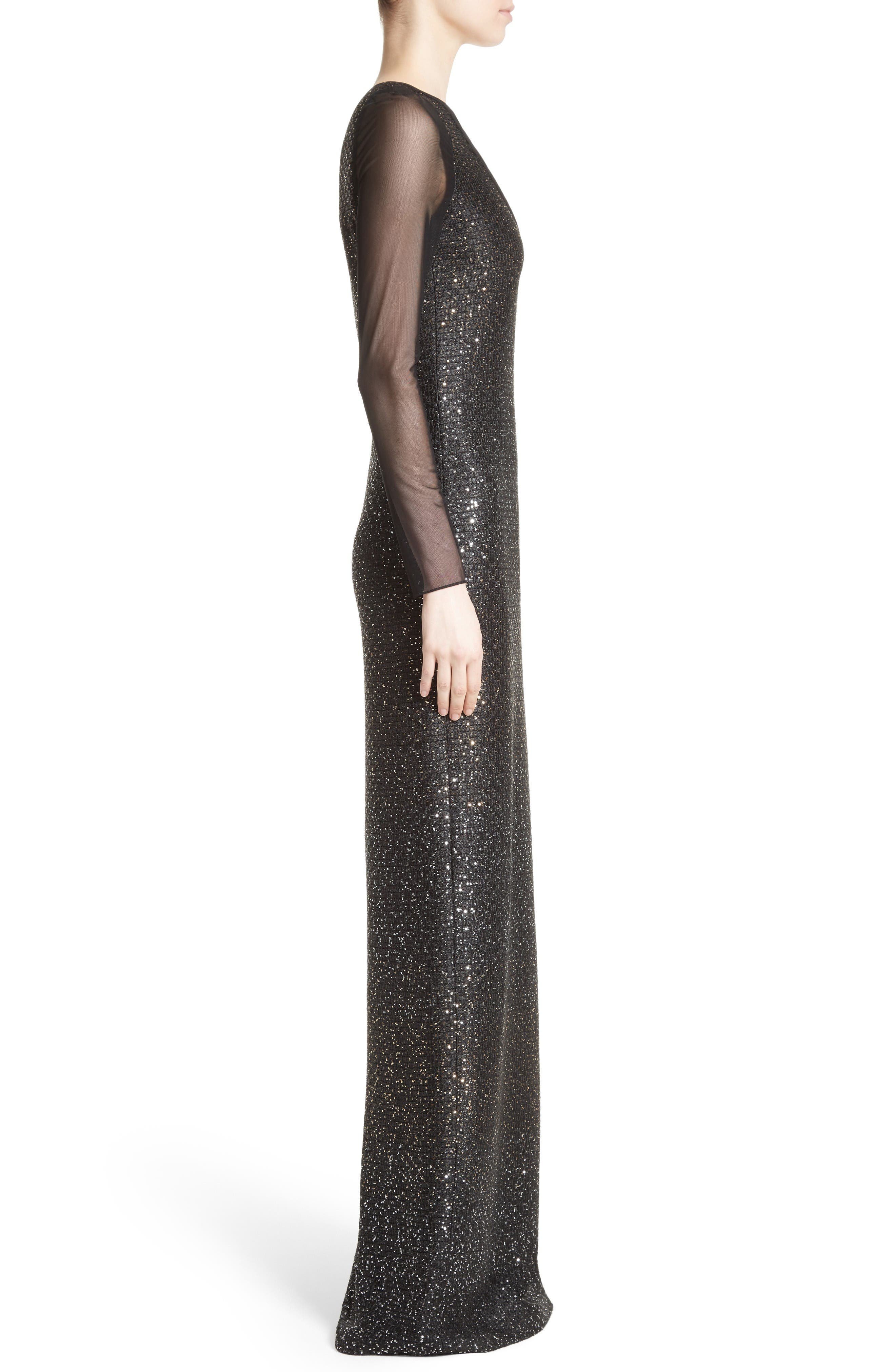 Sequin Illusion Yoke Gown,                             Alternate thumbnail 4, color,                             Caviar/Gold
