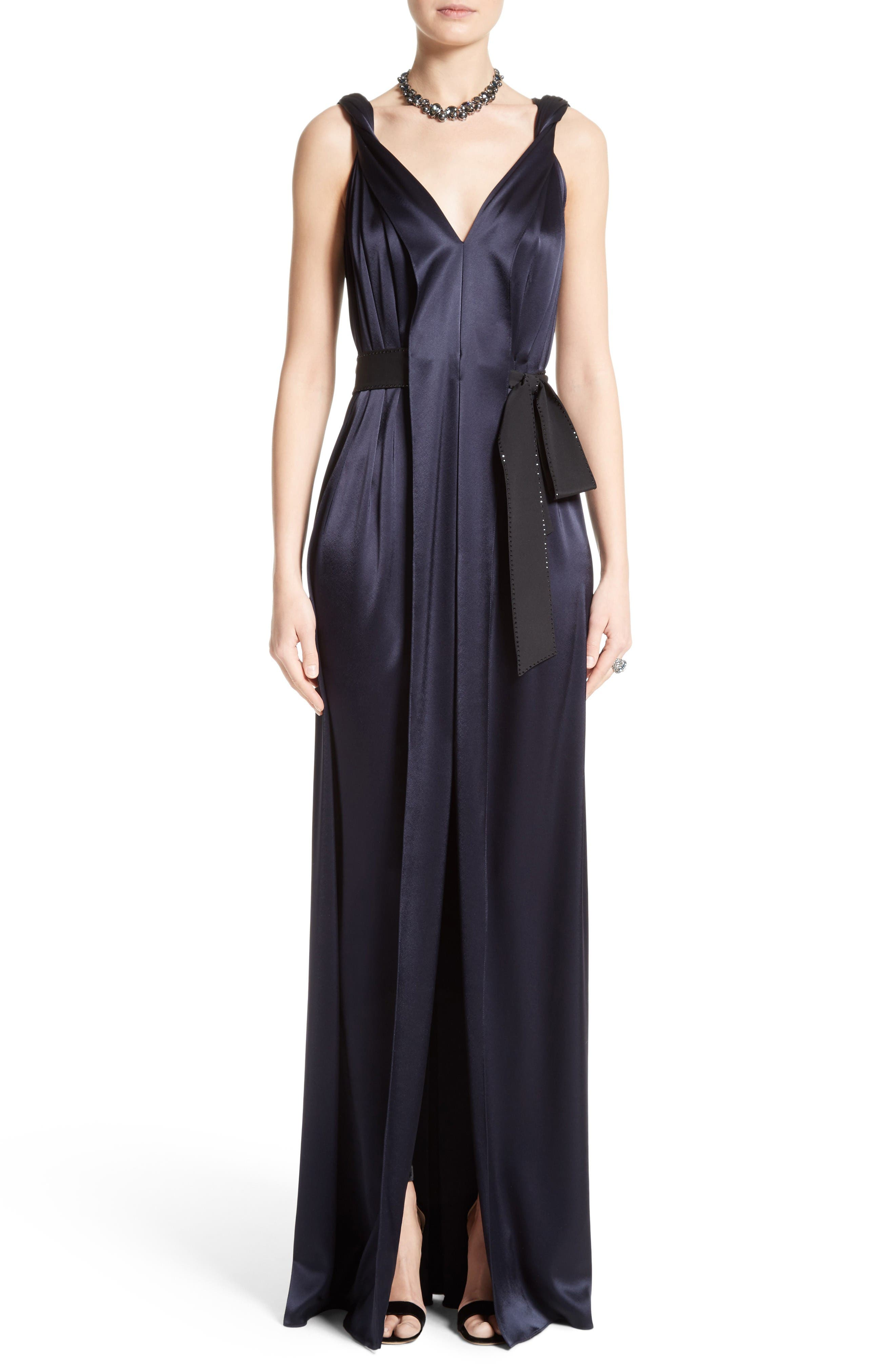 Alternate Image 1 Selected - St. John Evening Liquid Satin Gown