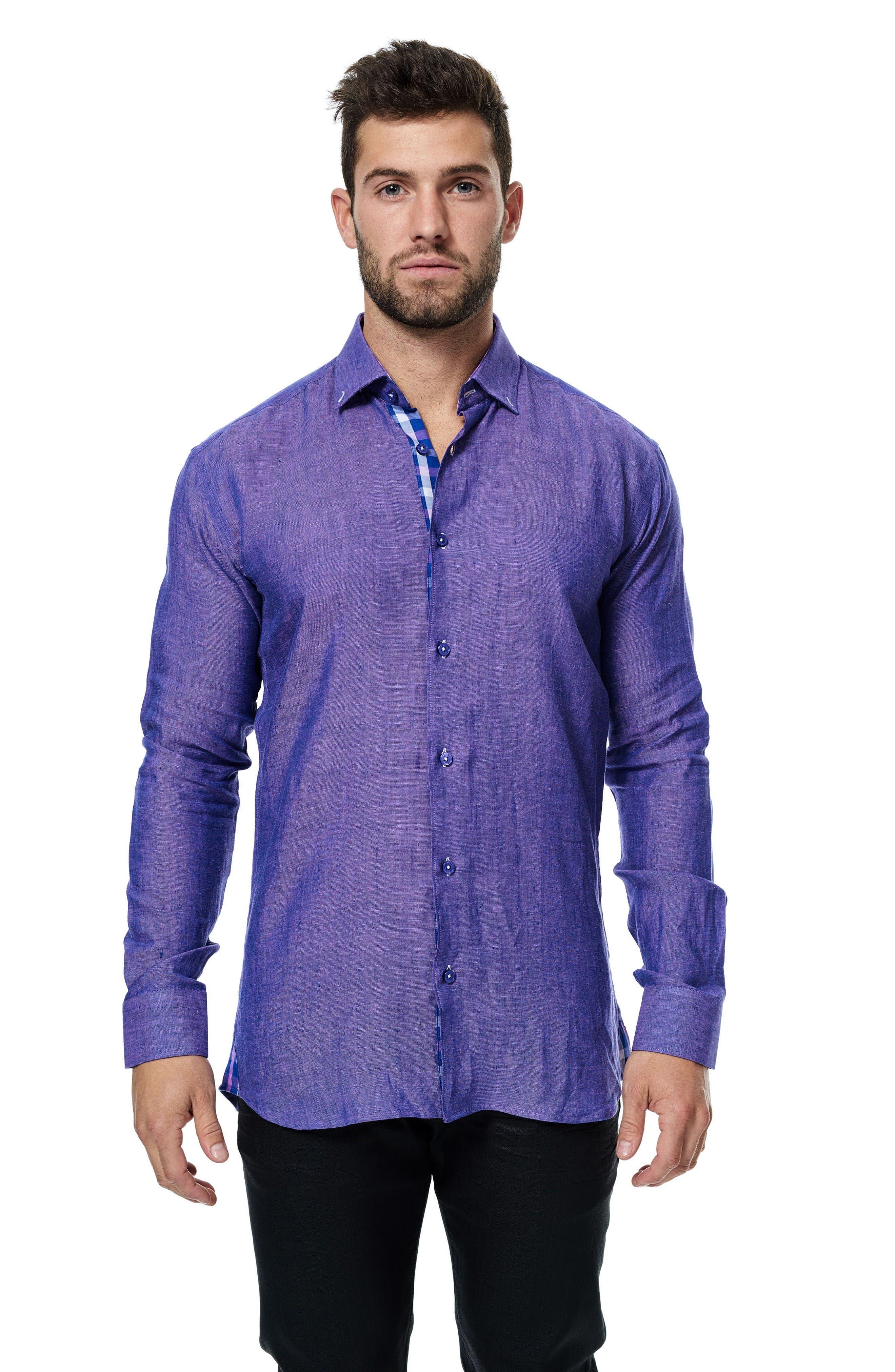Vogue Linen Sport Shirt,                             Alternate thumbnail 3, color,                             Purple