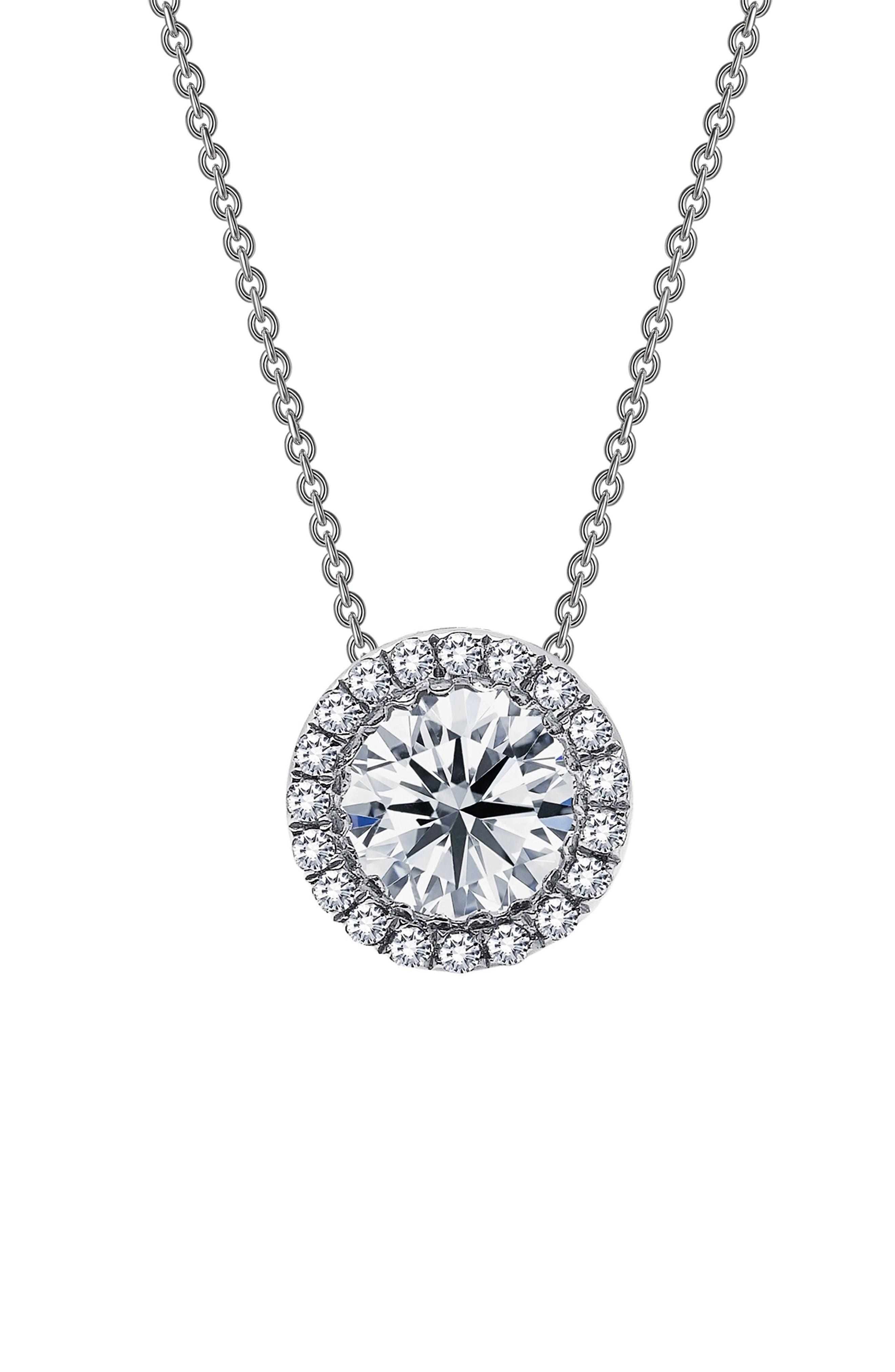 Simulated Diamond Pendant Necklace,                         Main,                         color, Silver