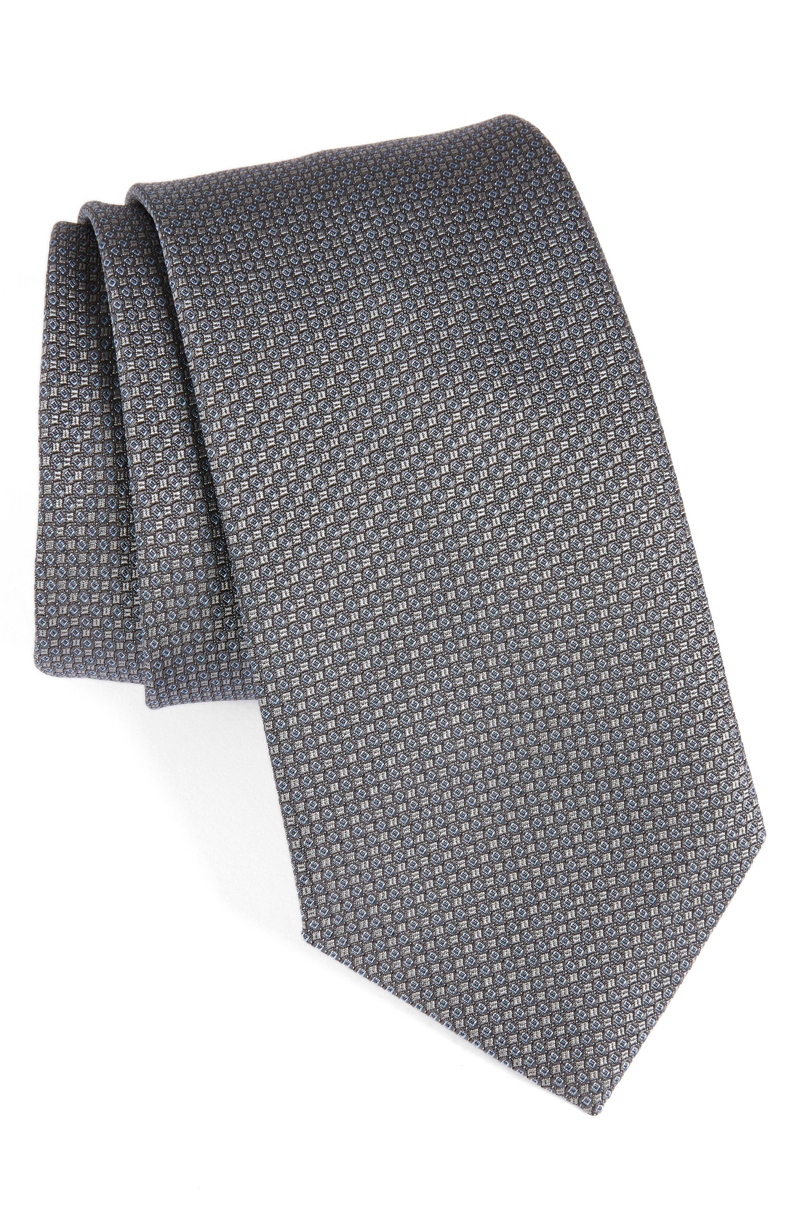 Solid Silk Tie,                         Main,                         color, Charcoal