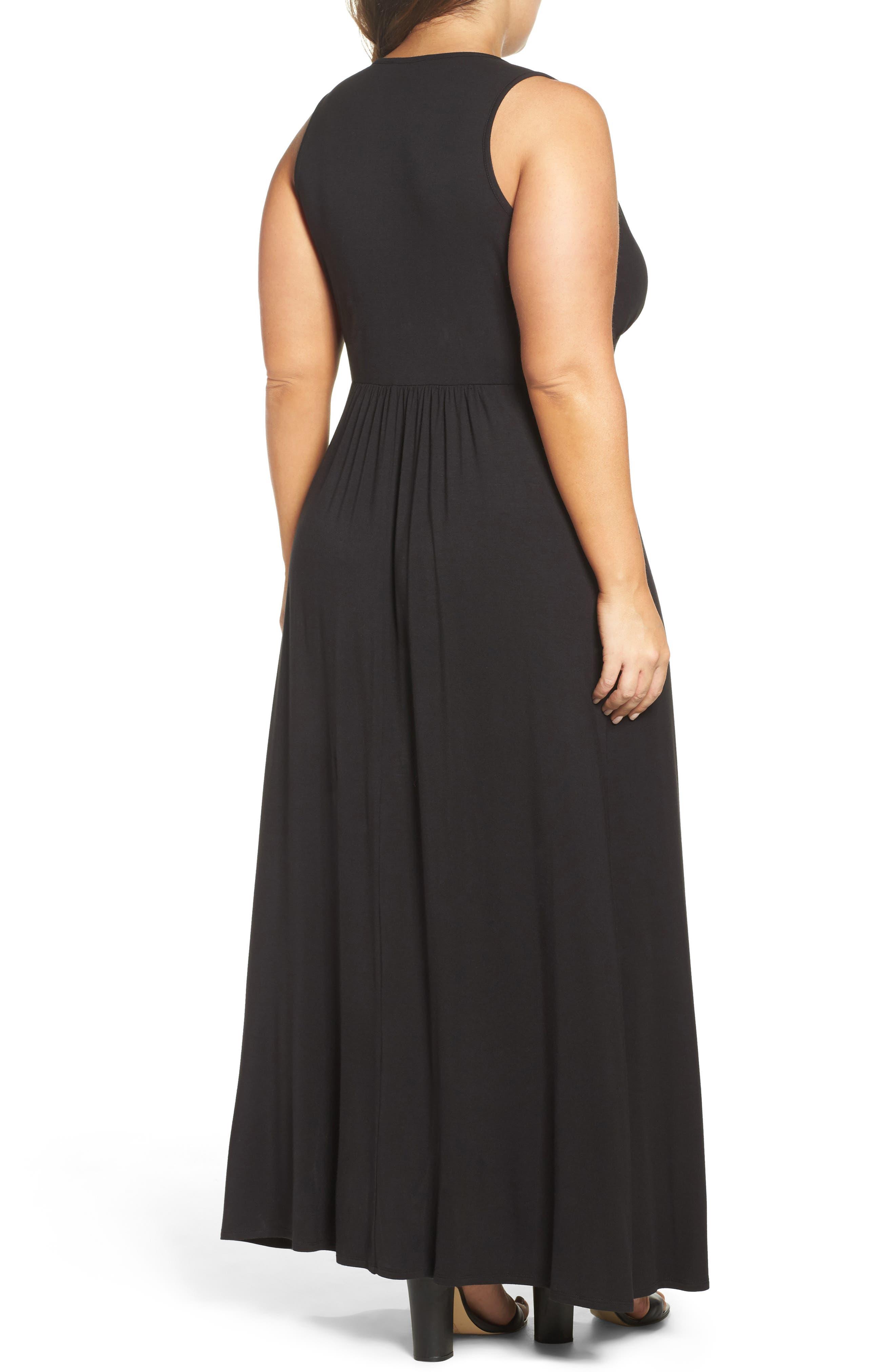 Surplice Maxi Dress,                             Alternate thumbnail 2, color,                             Black