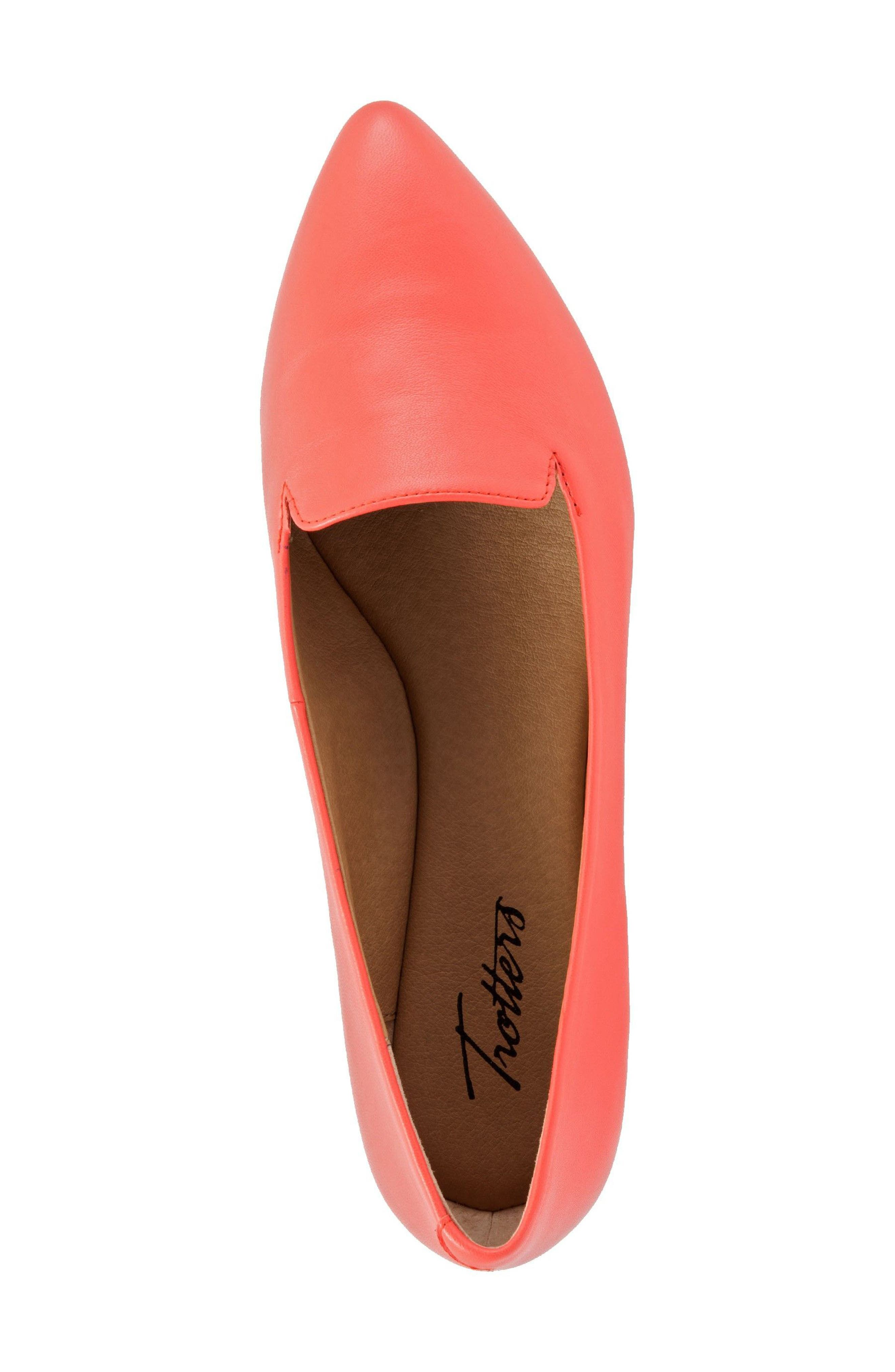 Harlowe Pointy Toe Loafer,                             Alternate thumbnail 3, color,                             Coral Leather