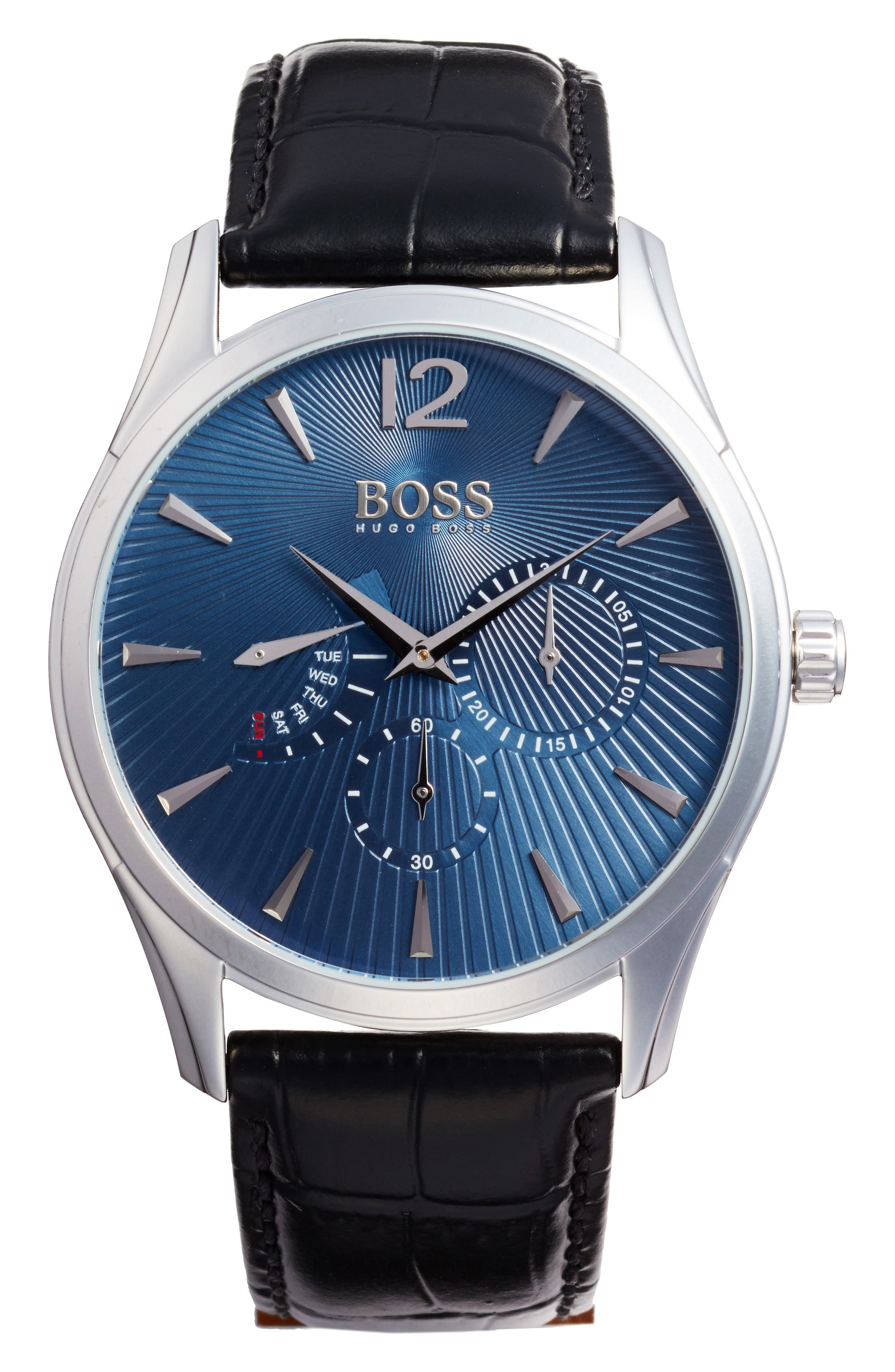 Commander Multifunction Leather Strap Watch, 41mm,                         Main,                         color, Blue/ Black