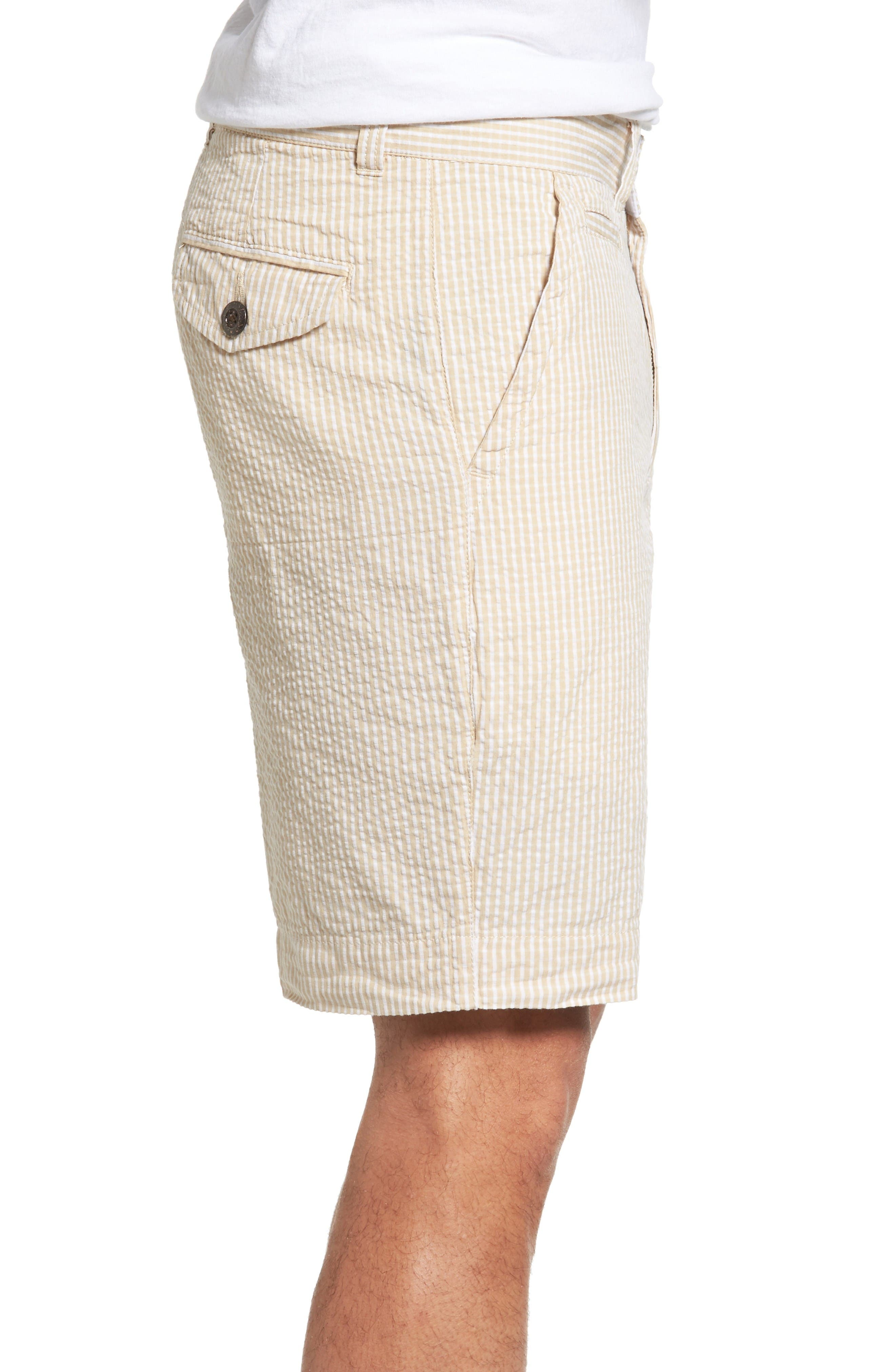 Stripe Seersucker Shorts,                             Alternate thumbnail 3, color,                             Tan