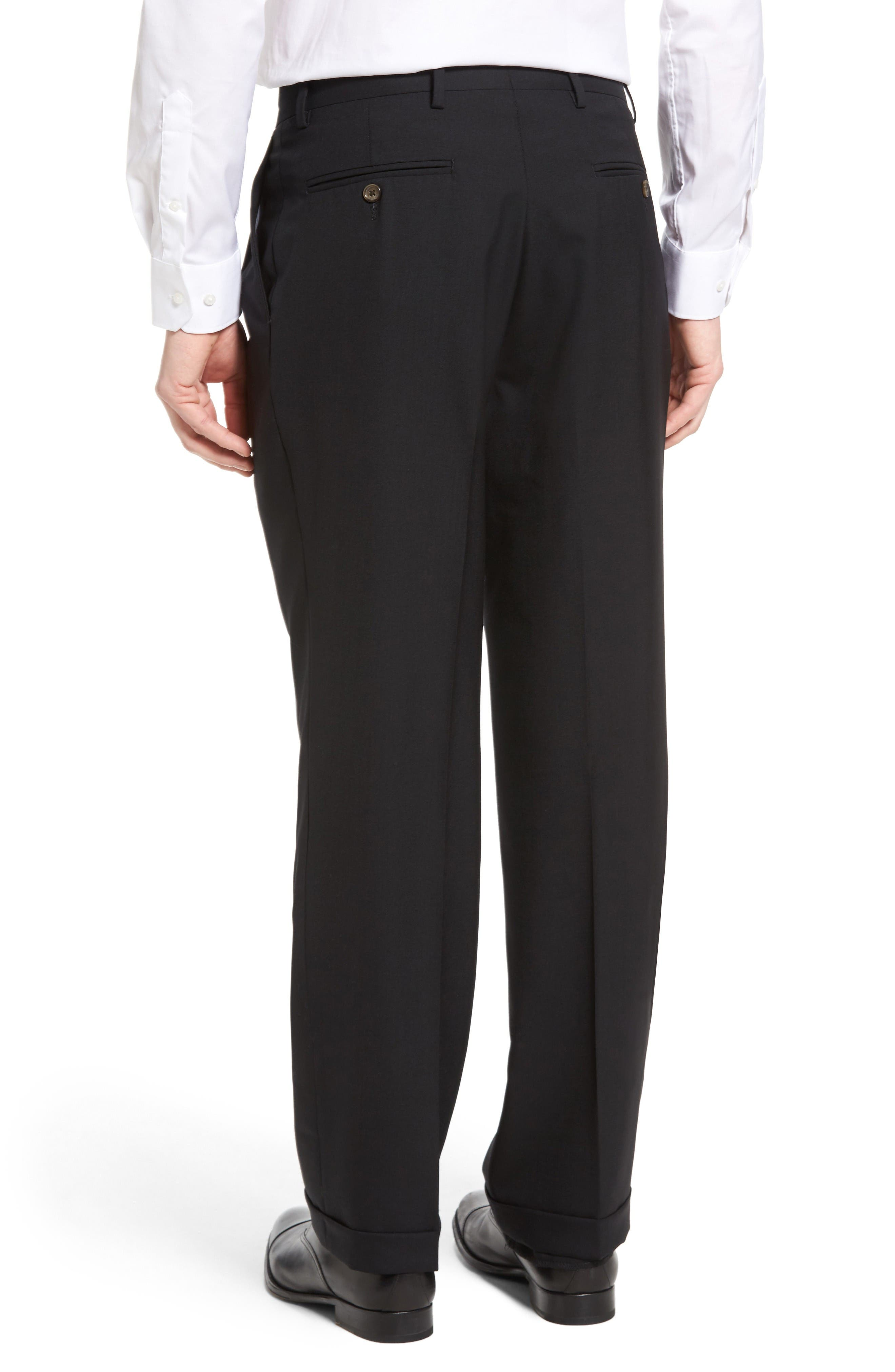 Pleated Solid Wool Trousers,                             Alternate thumbnail 2, color,                             Black