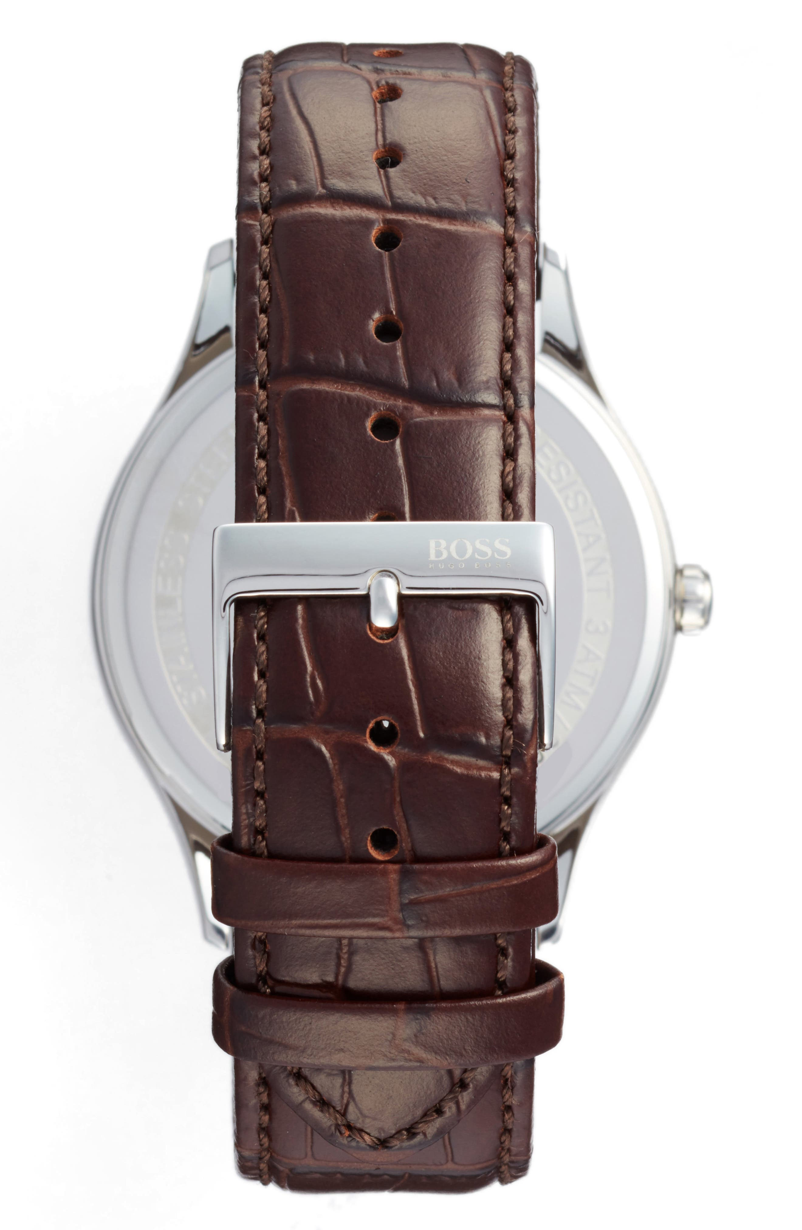 Governor Croc Embossed Leather Strap Watch, 44mm,                             Alternate thumbnail 2, color,                             White/ Brown