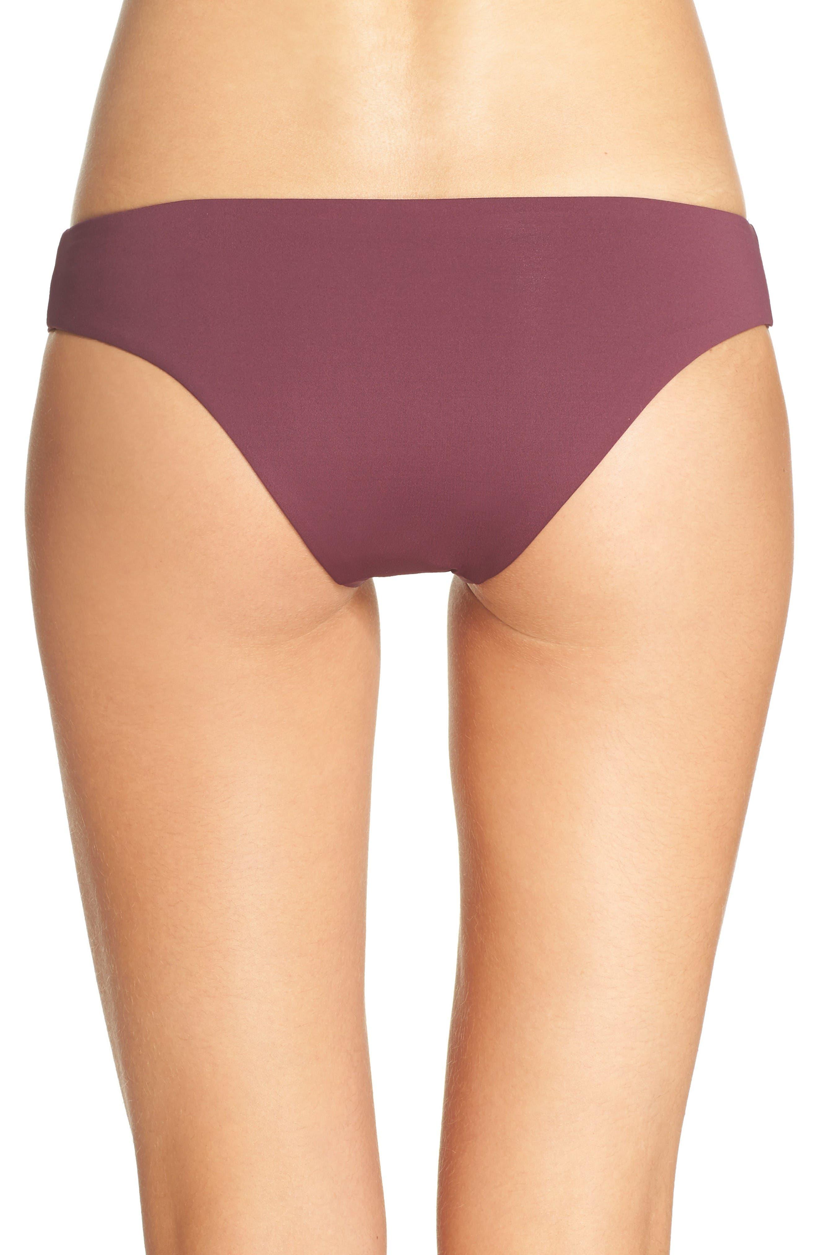 'Ali' Moderate Coverage Bikini Bottoms,                             Alternate thumbnail 2, color,                             Merlot