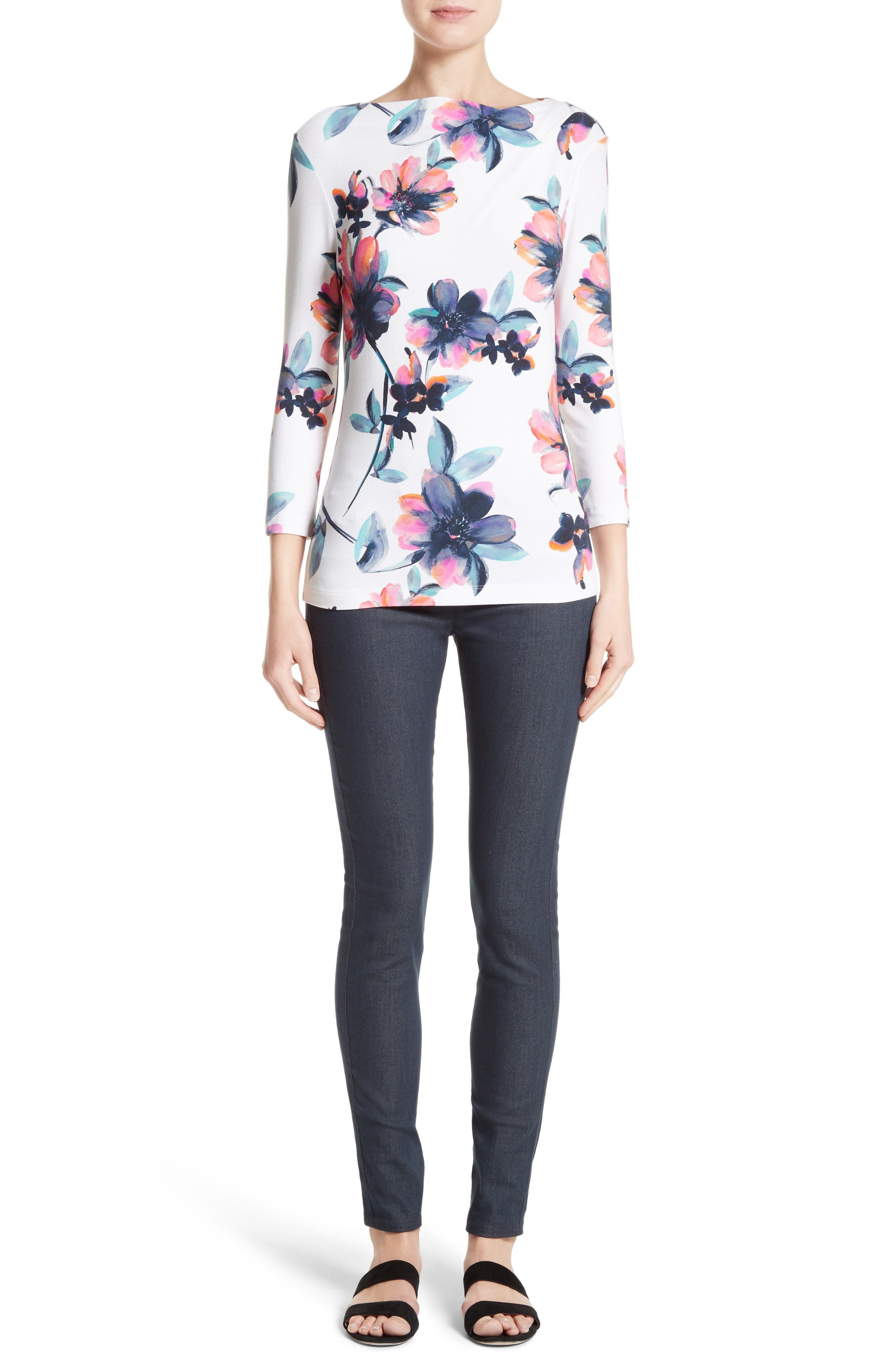 Alternate Image 7  - St. John Collection Naveena Floral Print Top