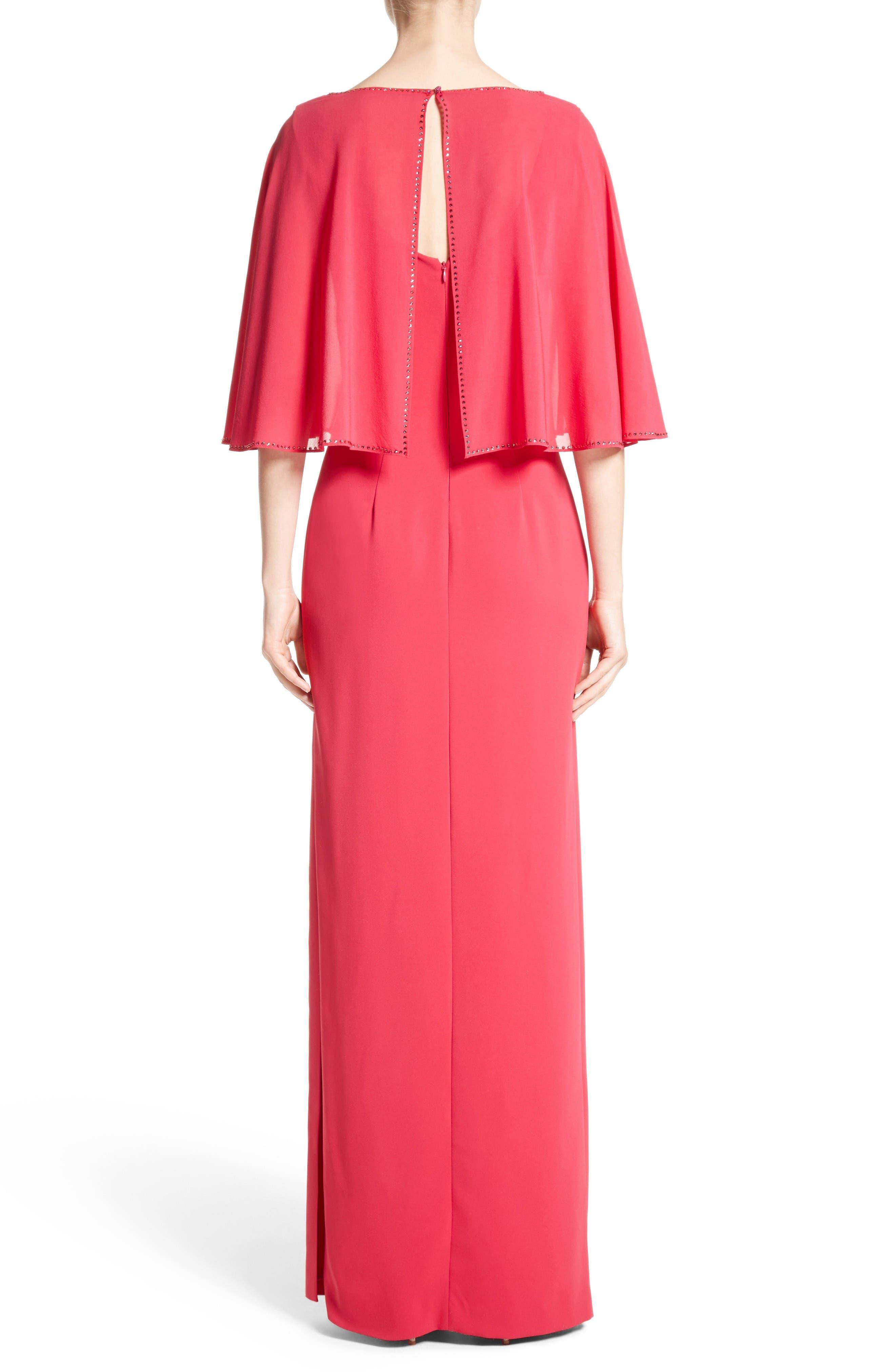 Alternate Image 2  - St. John Evening Embellished Stretch Cady Cape Back Gown