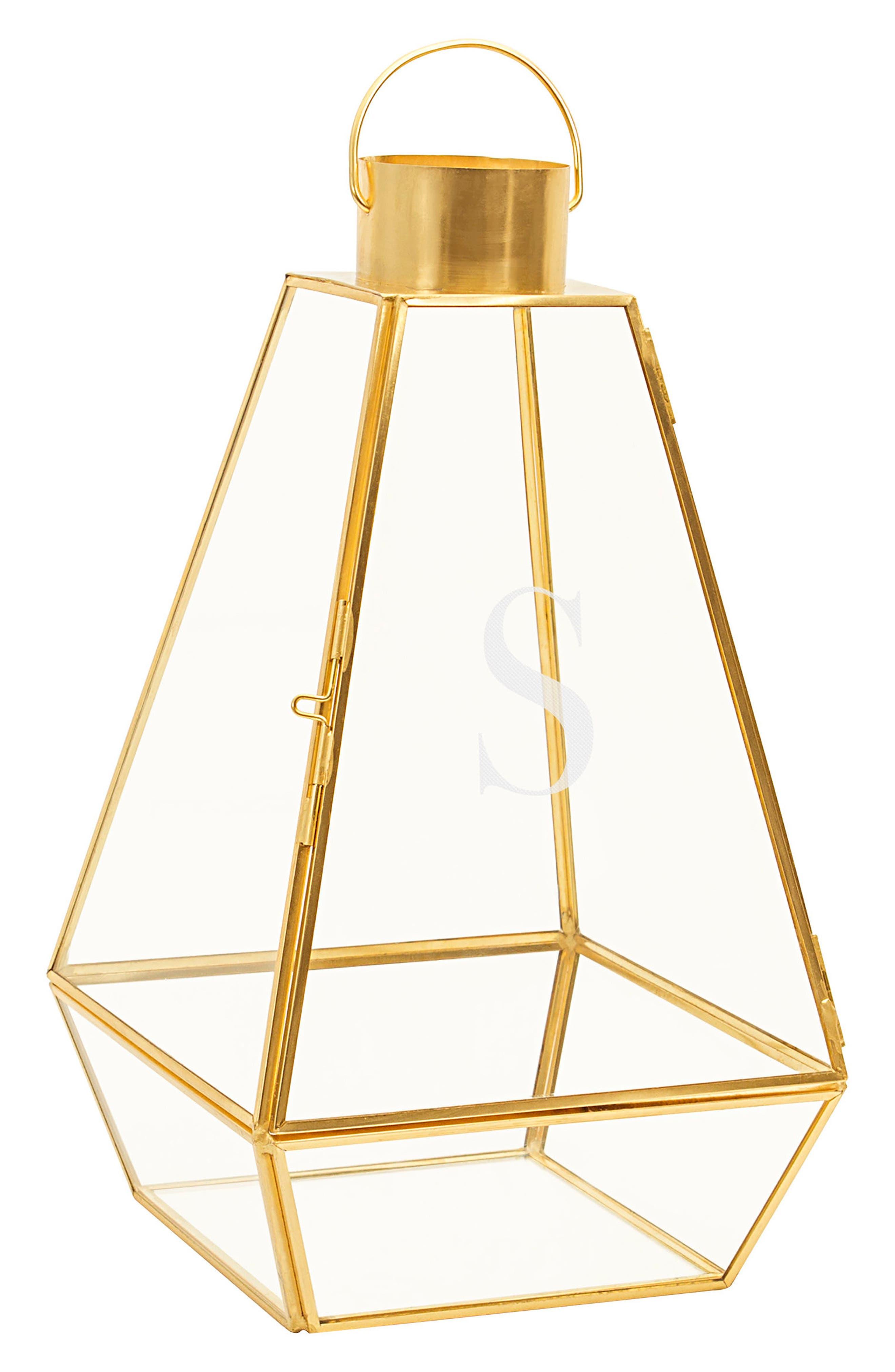 Monogram Lantern,                             Main thumbnail 1, color,                             Gold-S