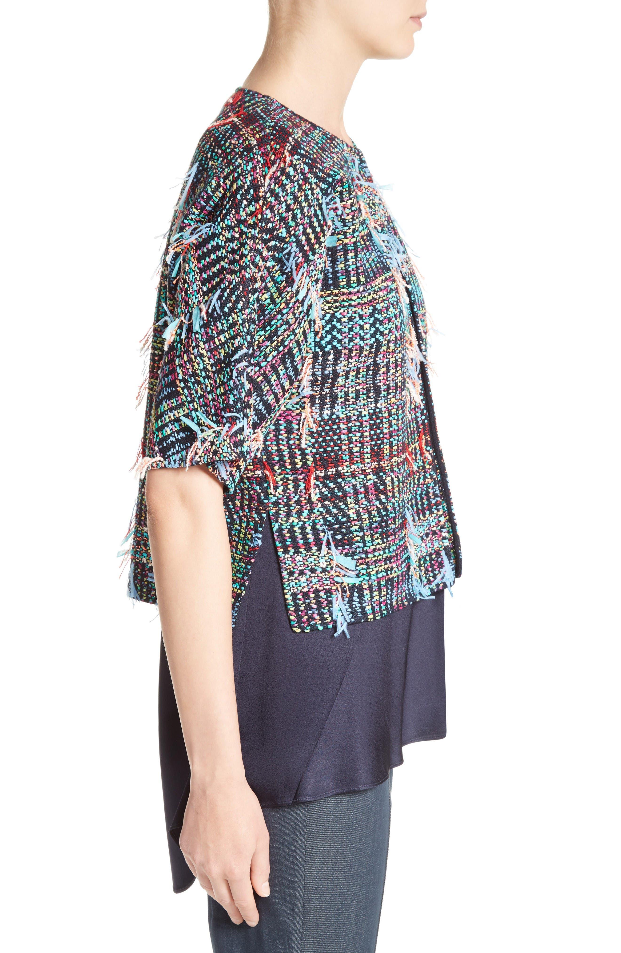 Dara Fringe Knit Jacket,                             Alternate thumbnail 3, color,                             Navy Multi