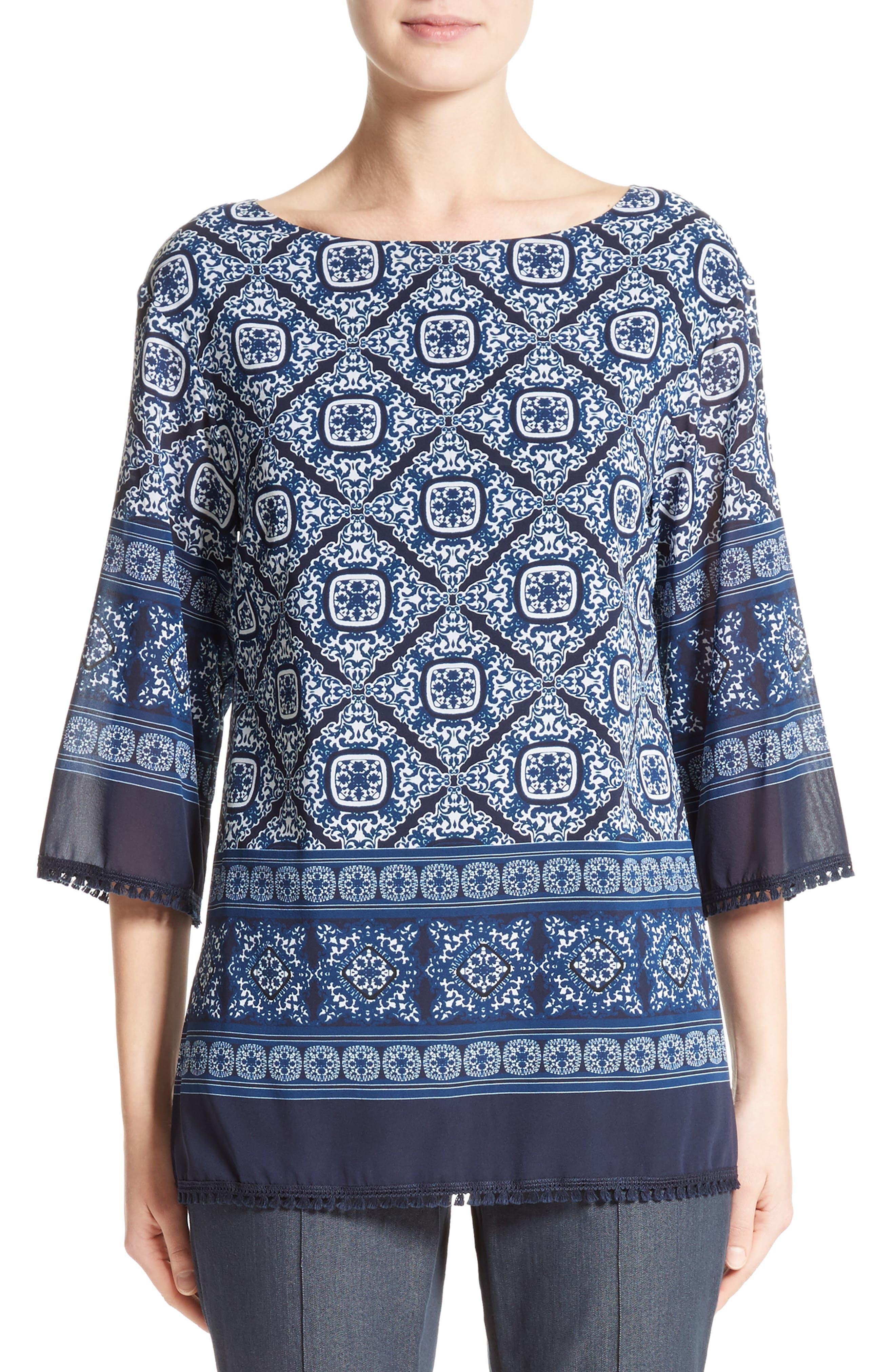 Jaipur Tile Print Stretch Silk Blouse,                         Main,                         color, Navy Multi