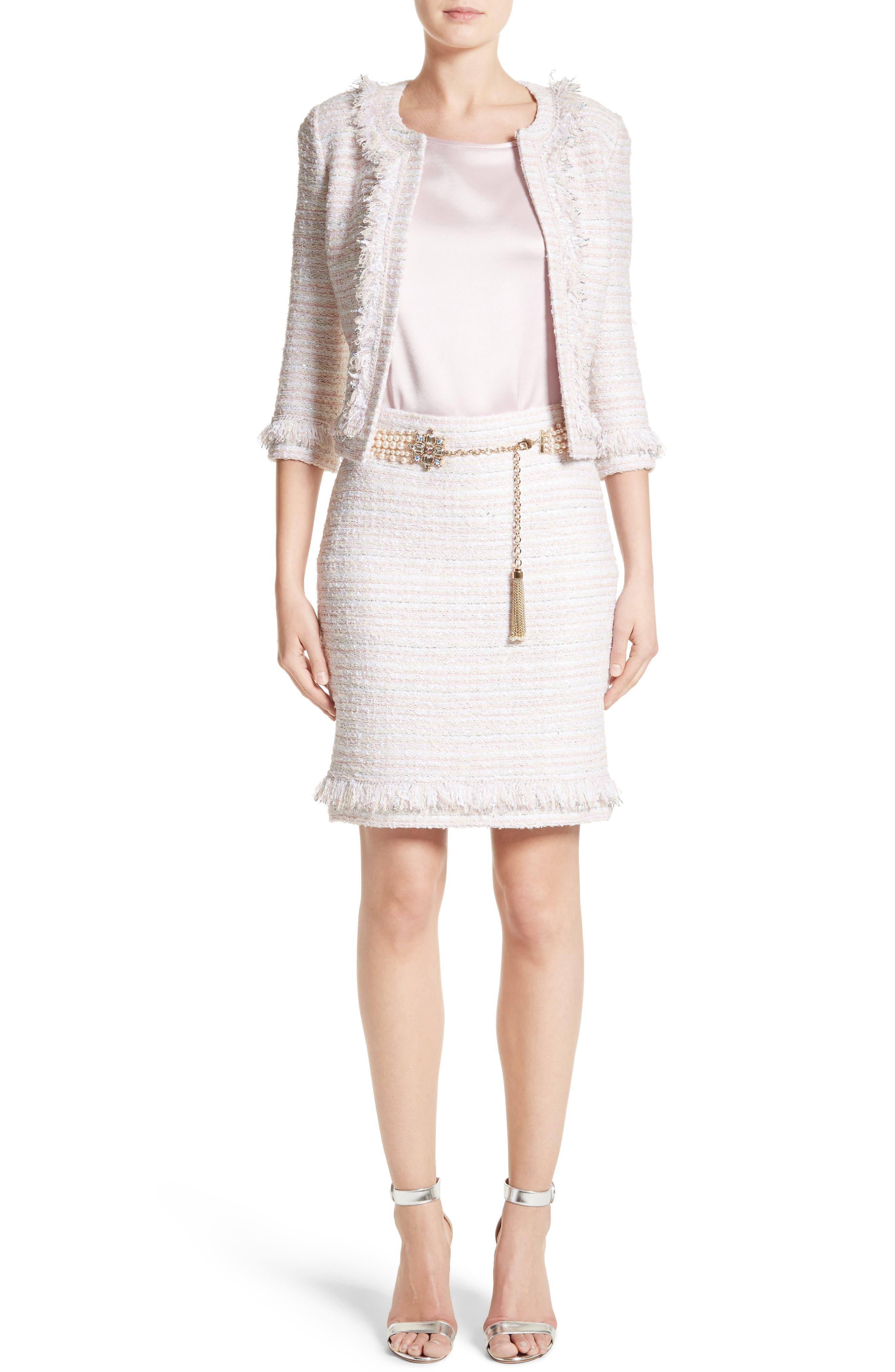 Padmesh Tweed Knit Skirt,                             Alternate thumbnail 8, color,                             Petal Multi
