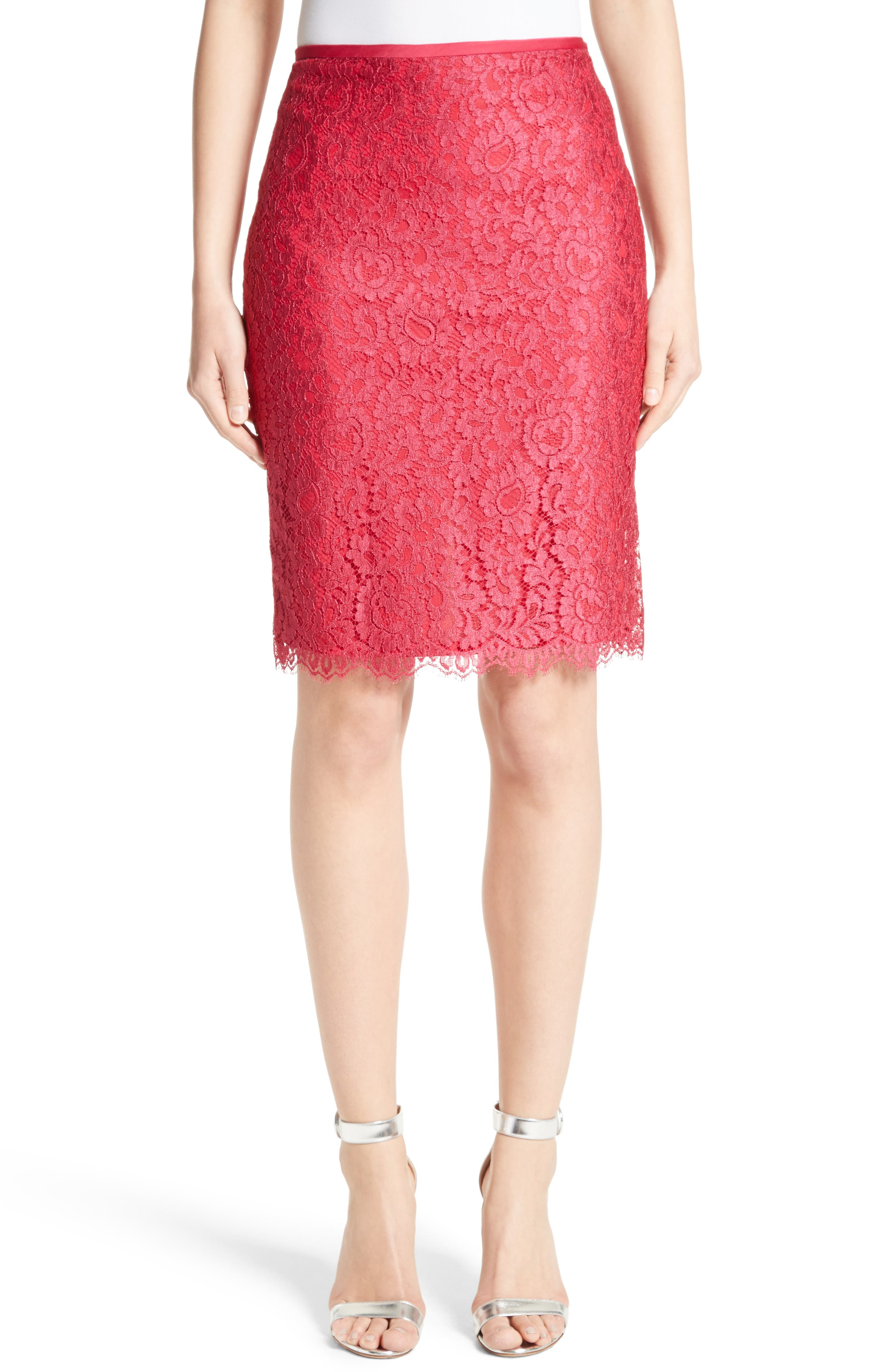 Main Image - St. John Collection Double Scallop Paisley Lace Skirt