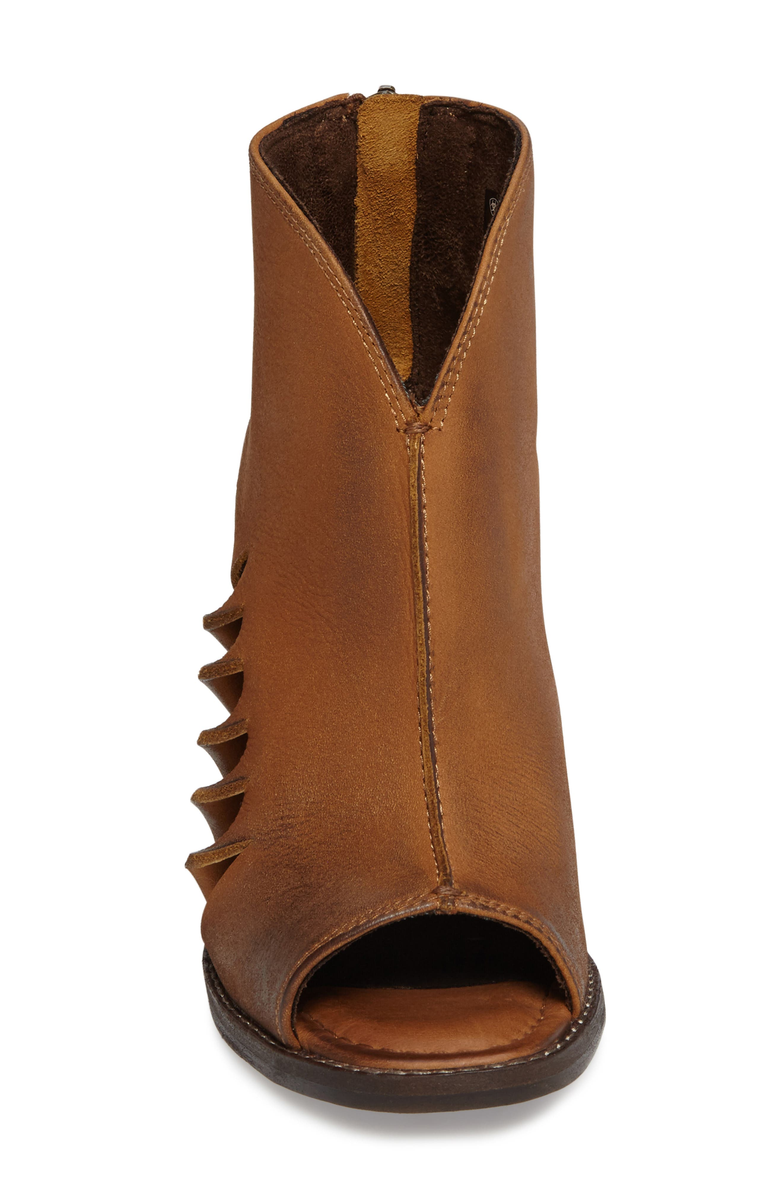 Lindsley Peep Toe Bootie,                             Alternate thumbnail 3, color,                             Tennessee Tan Leather