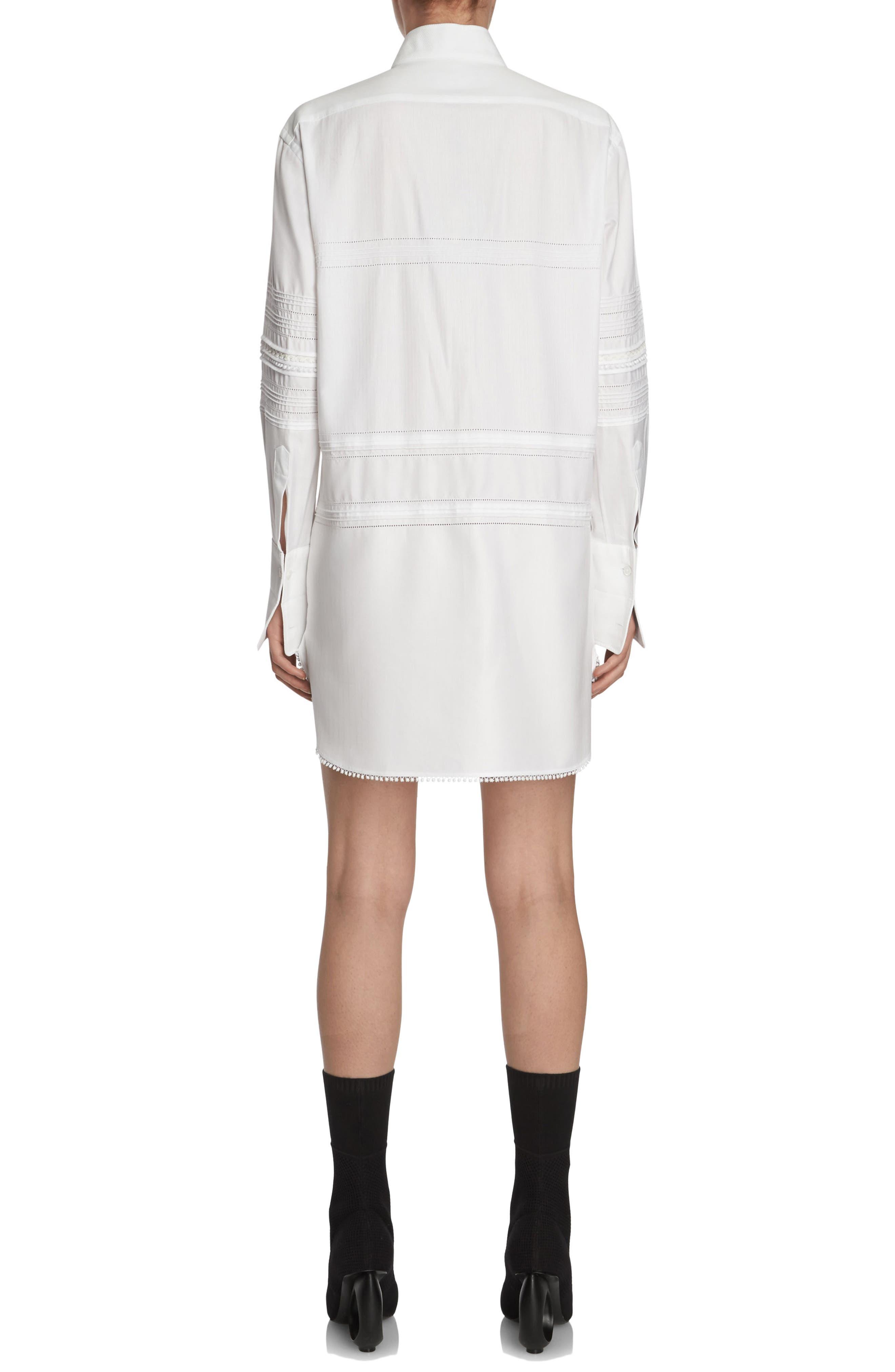 Pintuck Cotton Shirtdress,                             Alternate thumbnail 2, color,                             White