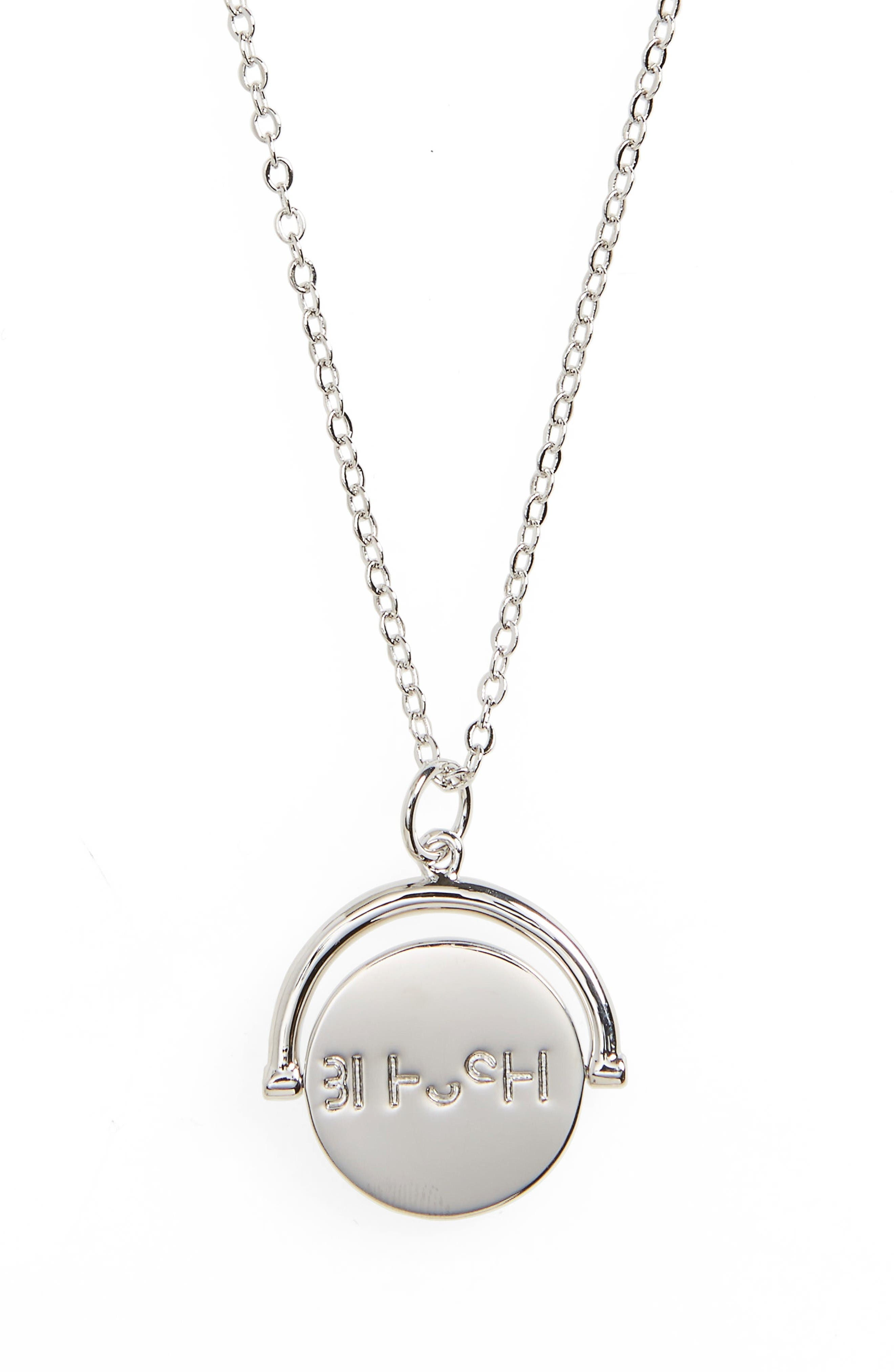 Blessed Love Code Charm Necklace,                         Main,                         color, Blessed/ Silver