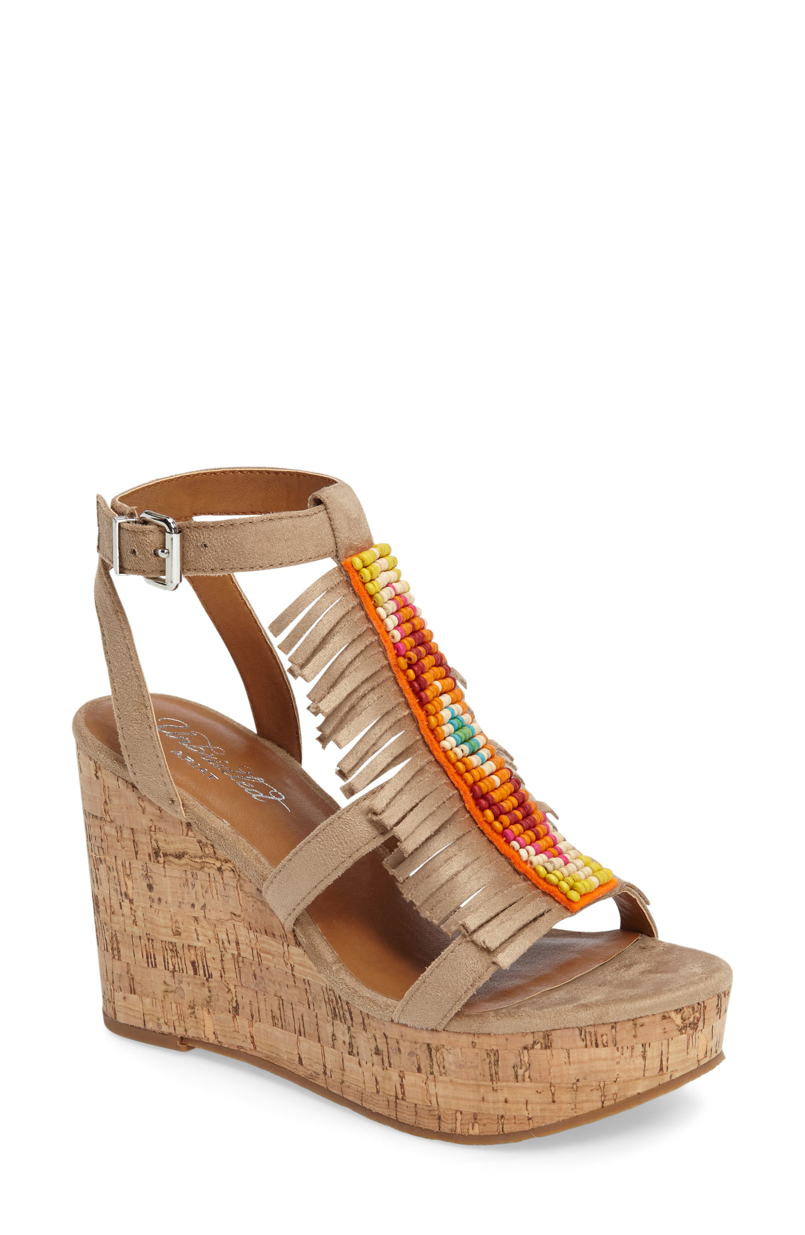 Unbridled Lolita Wedge Sandal,                             Main thumbnail 1, color,                             Sand Suede