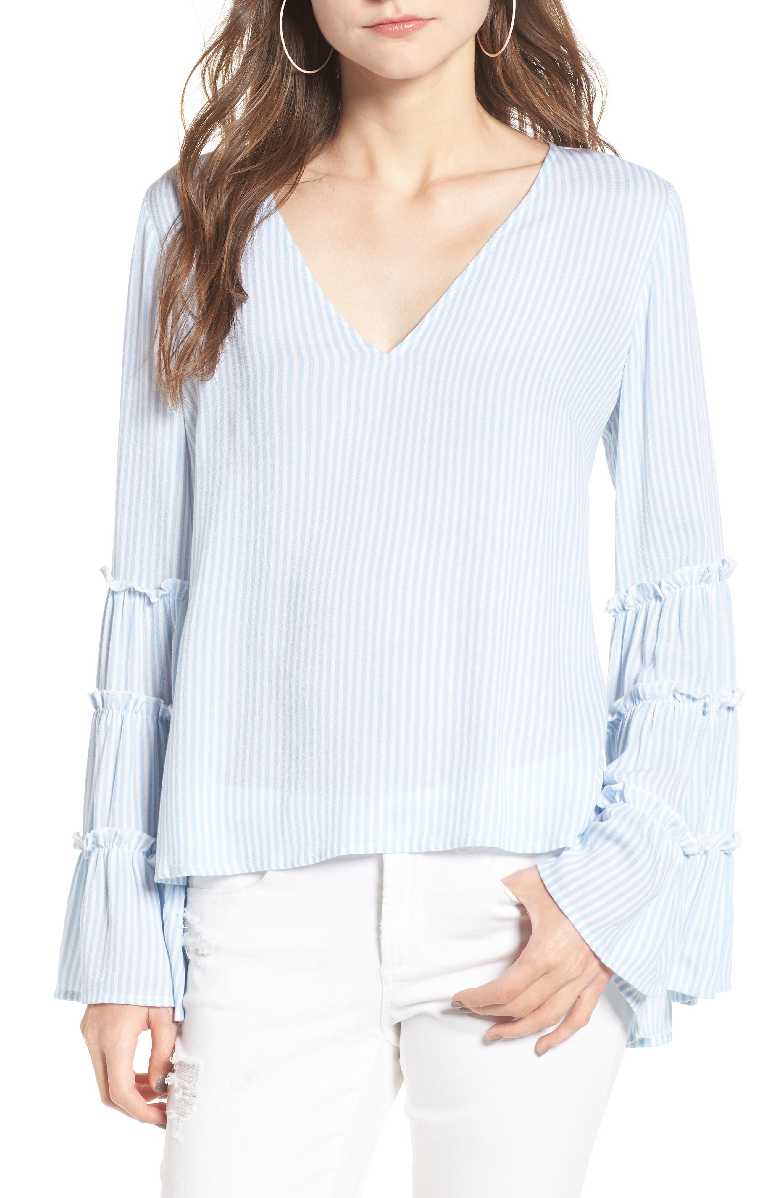 Main Image - BP. Stripe Bell Sleeve Blouse