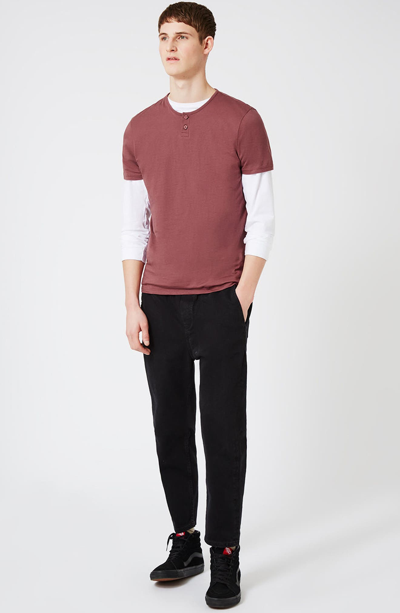 Short Sleeve Henley T-Shirt,                             Alternate thumbnail 2, color,                             Light Red