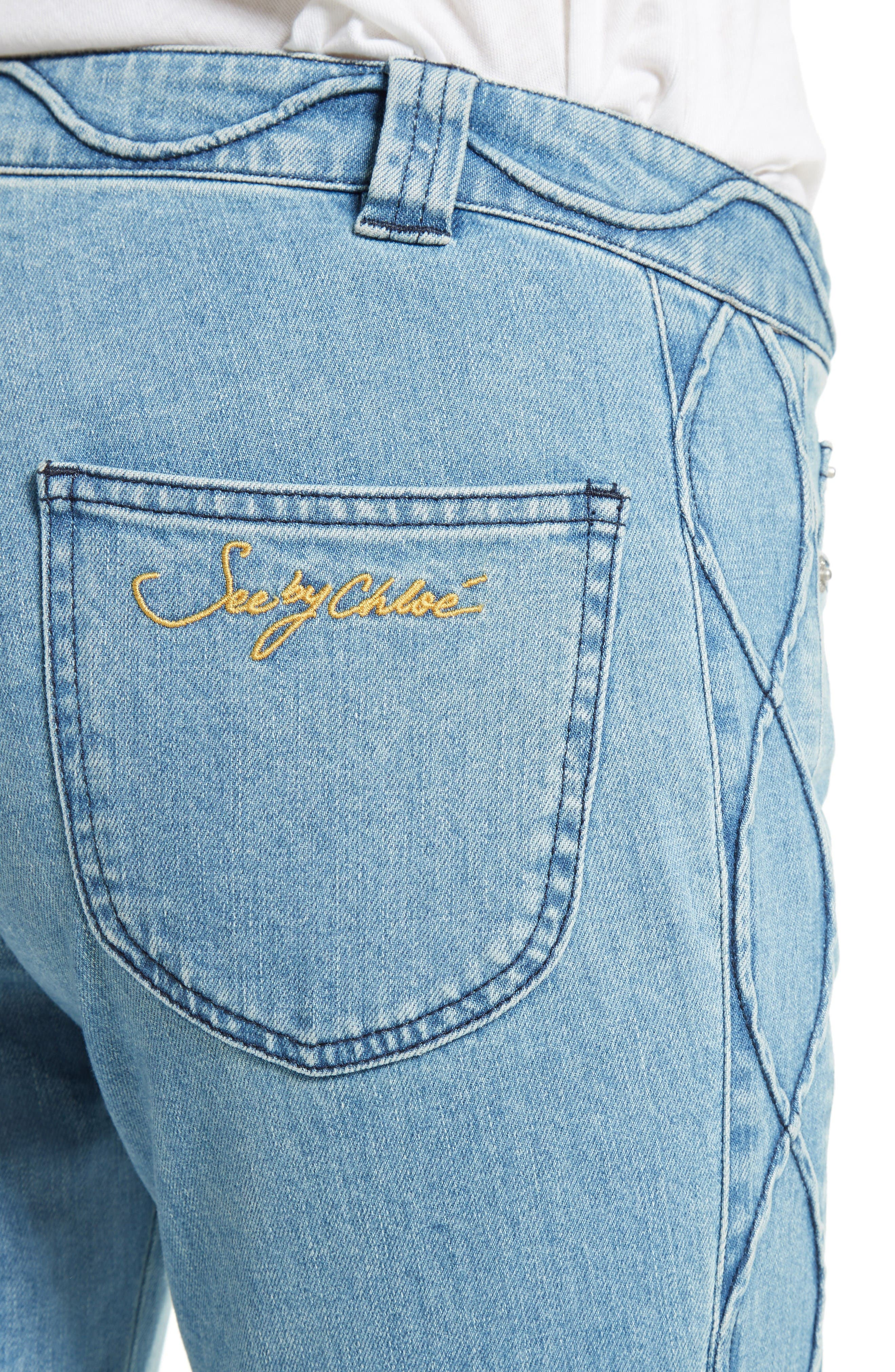 Alternate Image 4  - See by Chloé Iconic Ankle Flare Jeans (Stoned Indigo)