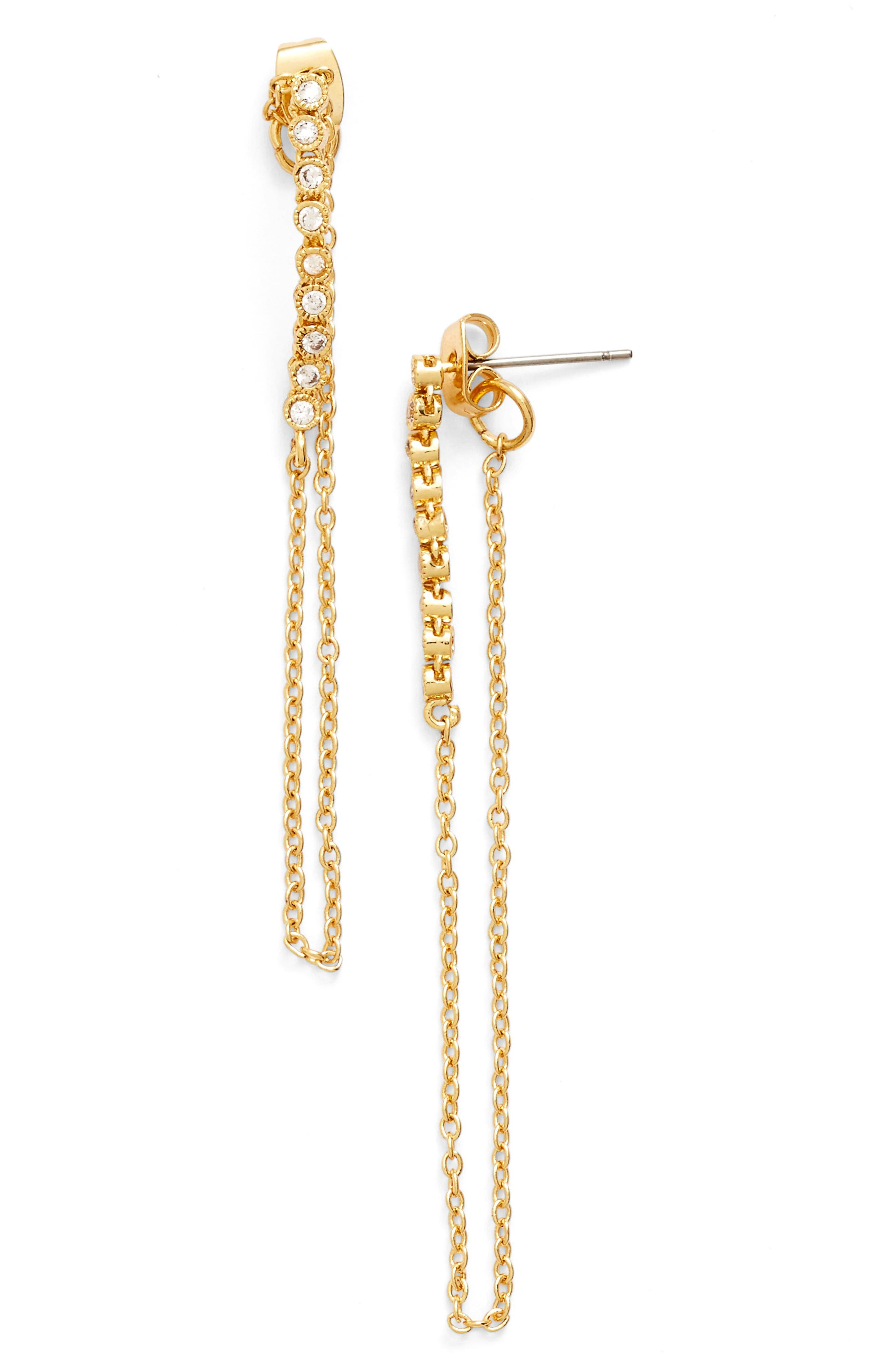 Crystal Chain Drop Earrings,                             Main thumbnail 1, color,                             Gold