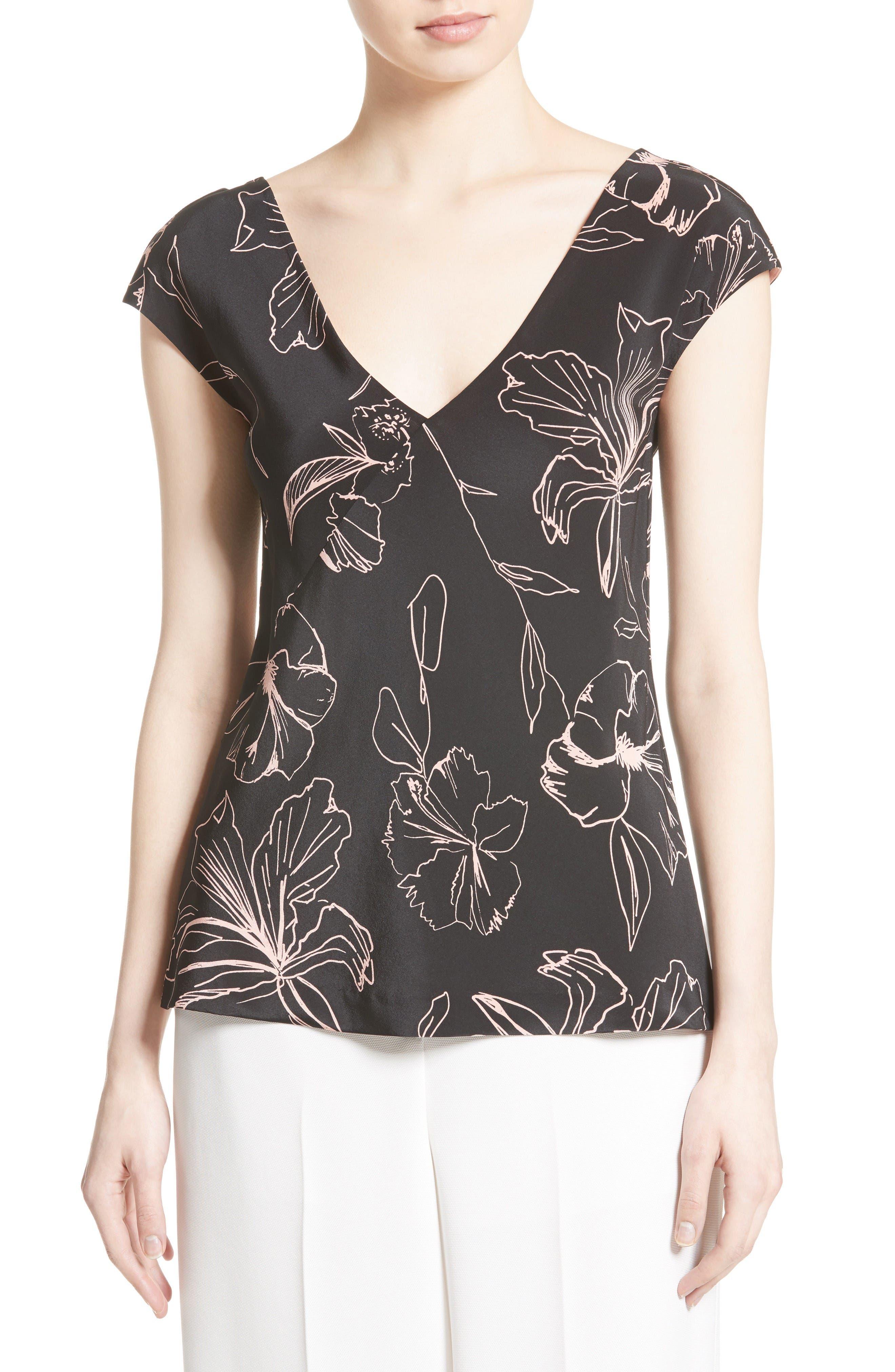 Diane von Furstenberg Floral Faux Wrap Silk Blouse
