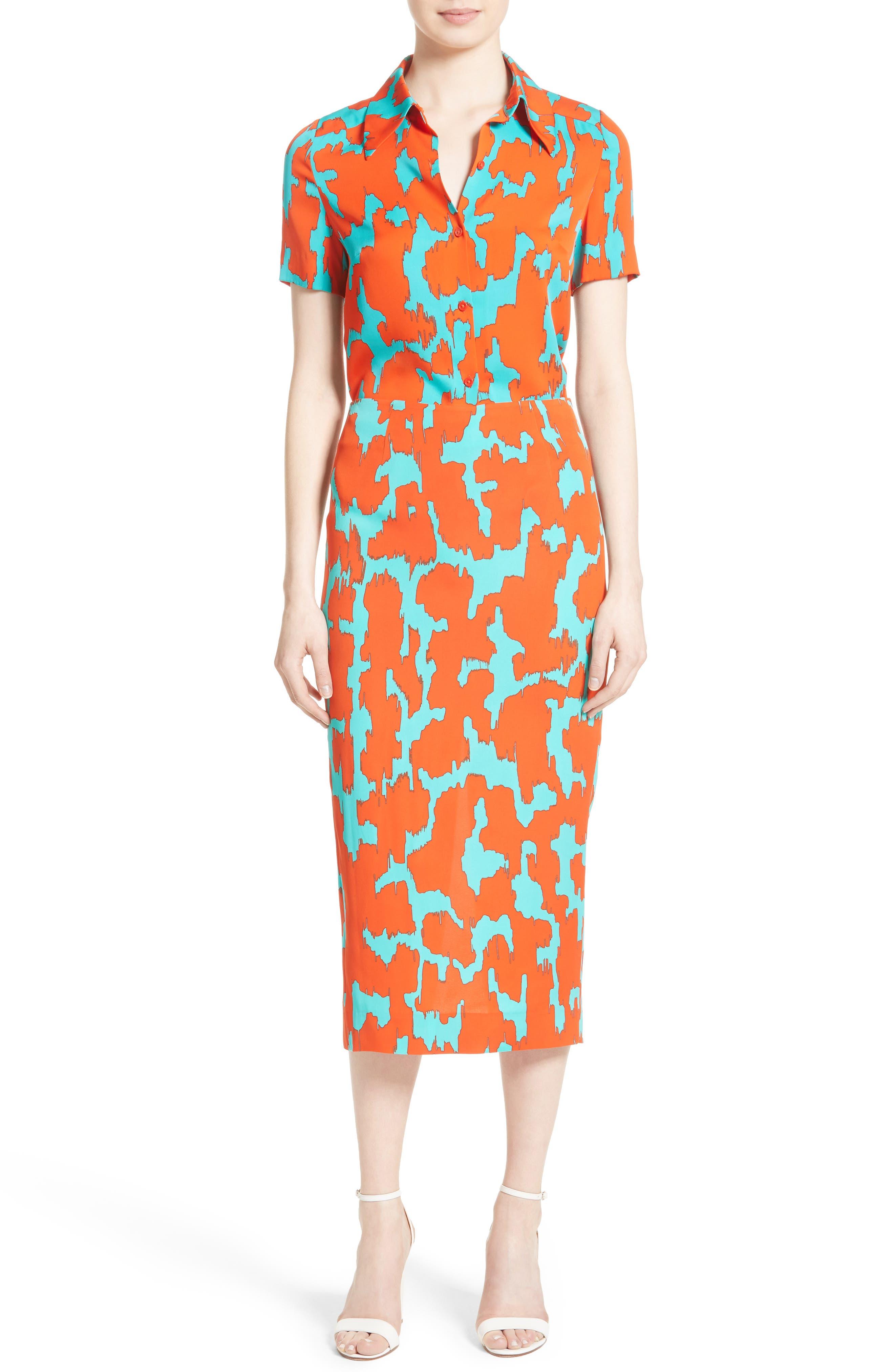 Alternate Image 2  - Diane von Furstenburg Print Stretch Silk Shirt