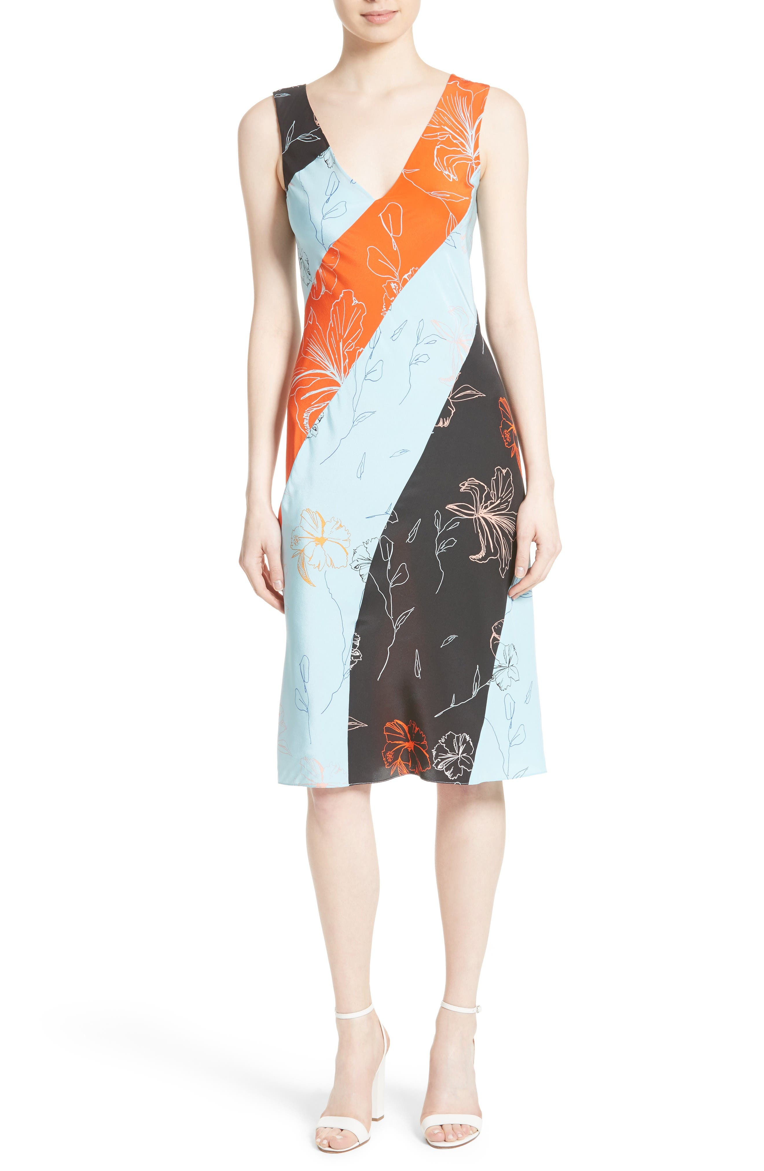 DIANE VON FURSTENBERG Print Silk Bias Cut Dress