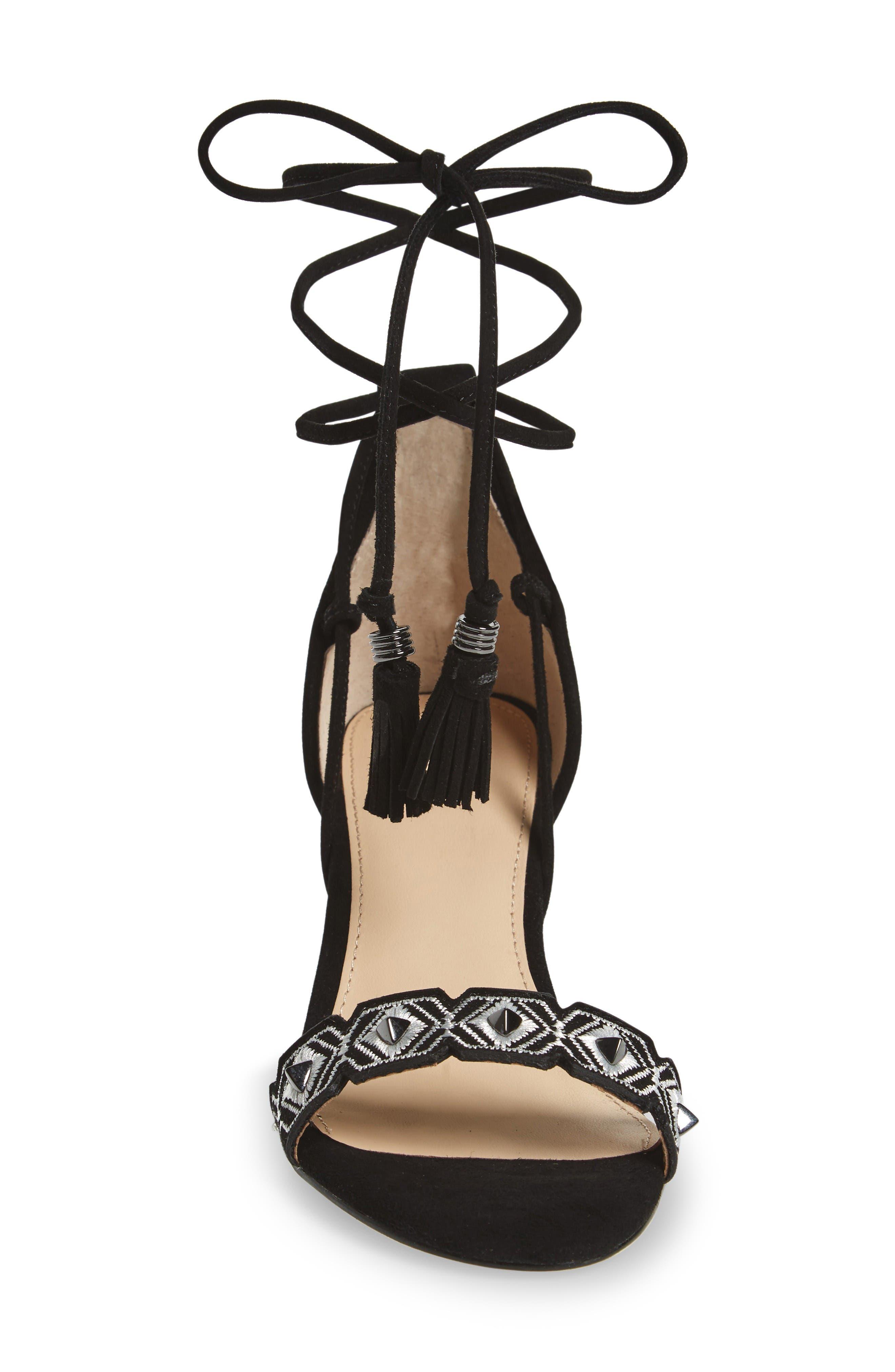 Penelope Embroidered Ankle Wrap Sandal,                             Alternate thumbnail 3, color,                             Black White Combo