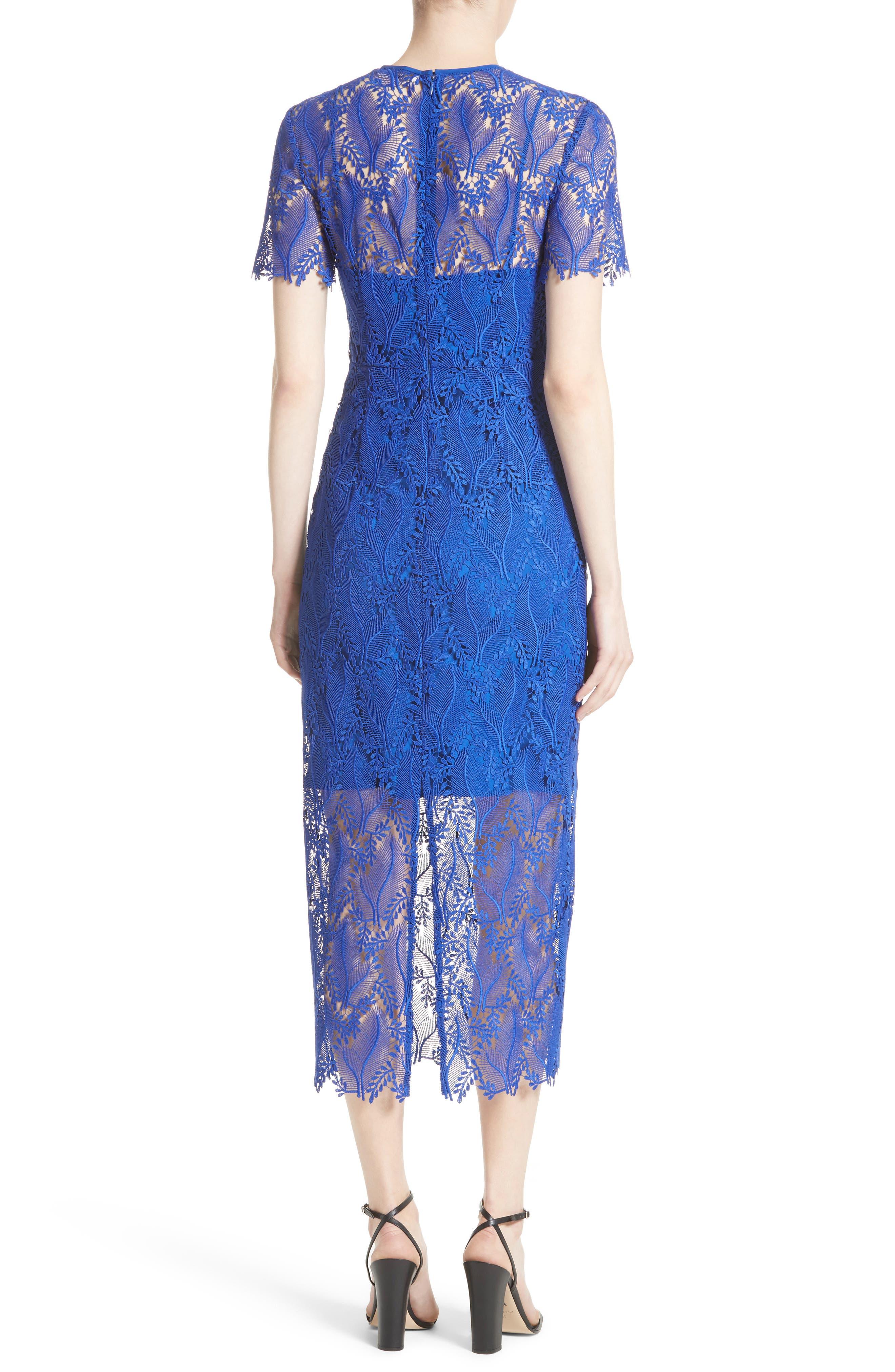 Lace Midi Sheath Dress,                             Alternate thumbnail 2, color,                             Klein Blue