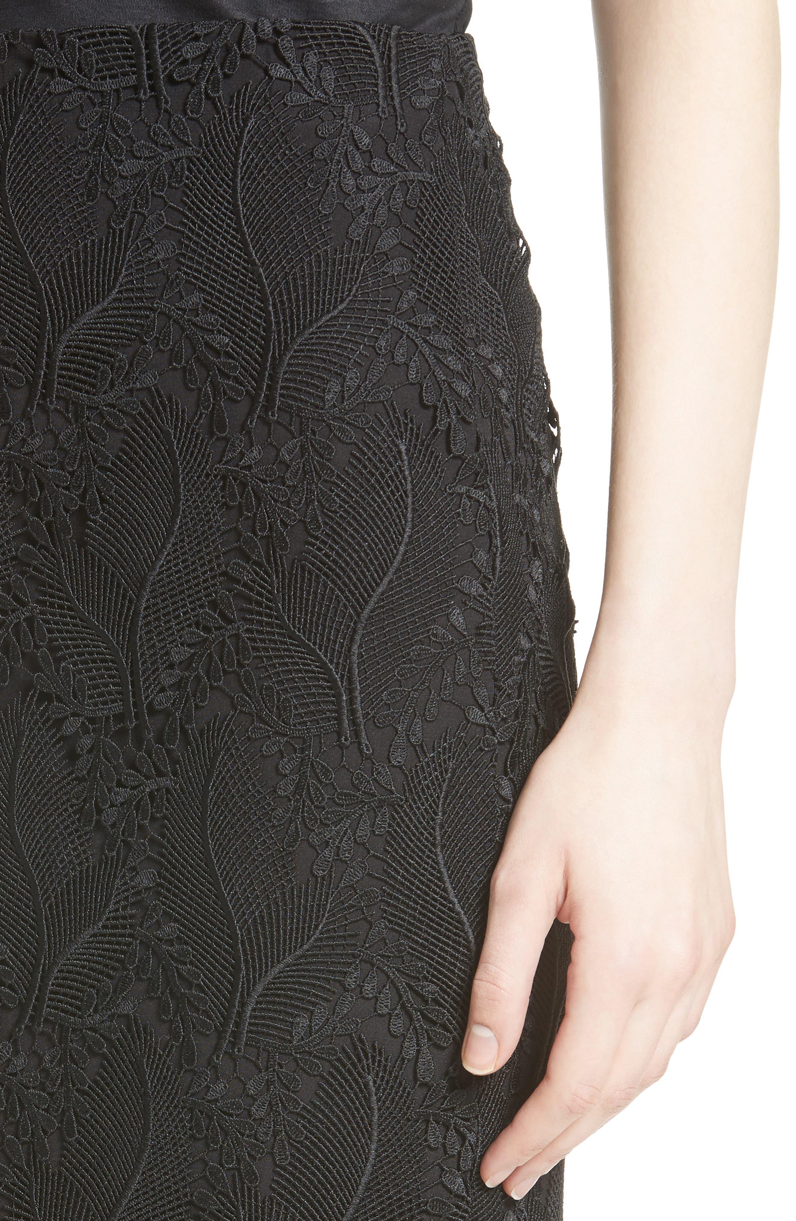 Lace Overlay Pencil Skirt,                             Alternate thumbnail 5, color,                             Black