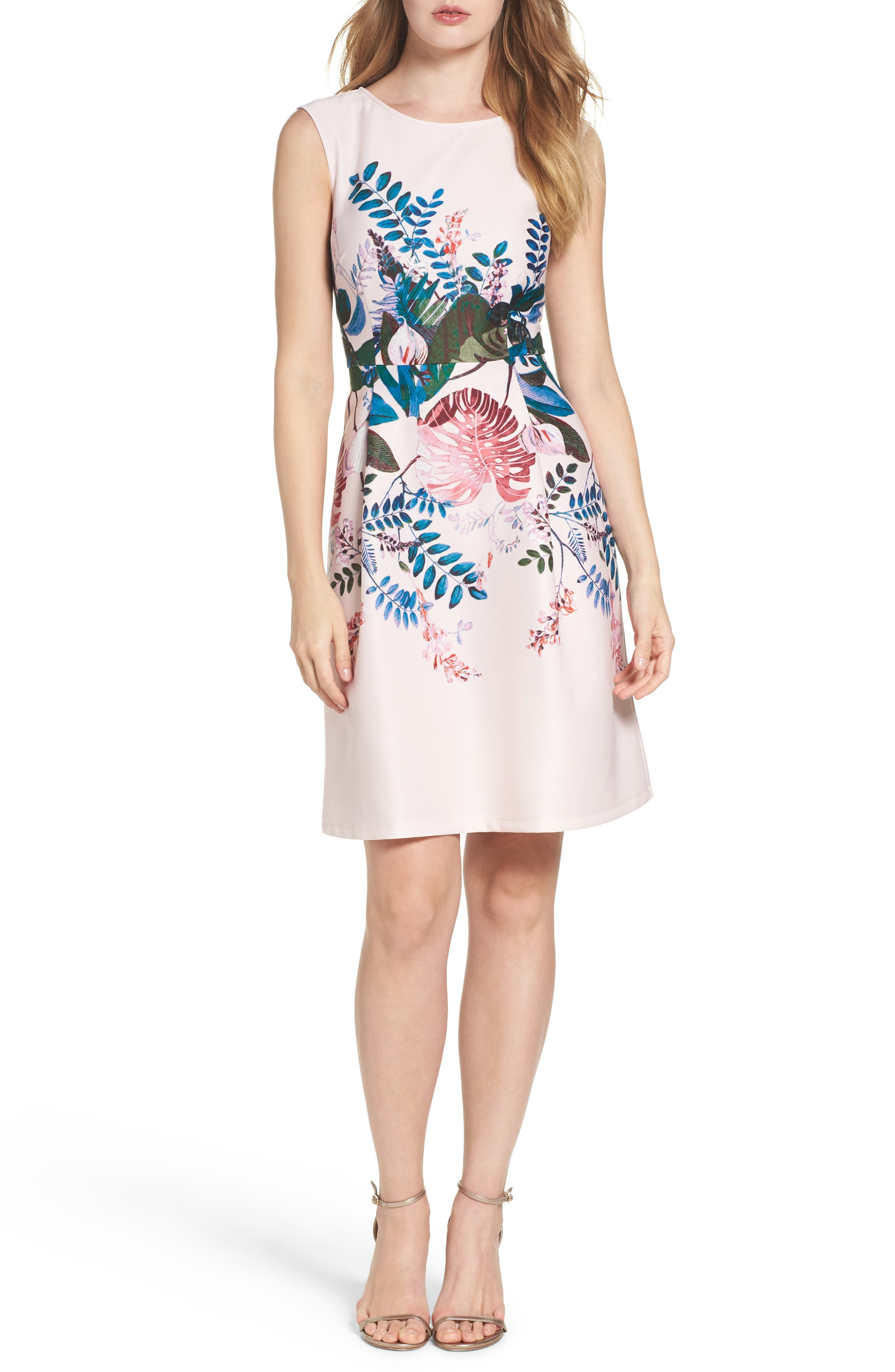 Alternate Image 4  - Adrianna Papell Placed Print Fit & Flare Dress