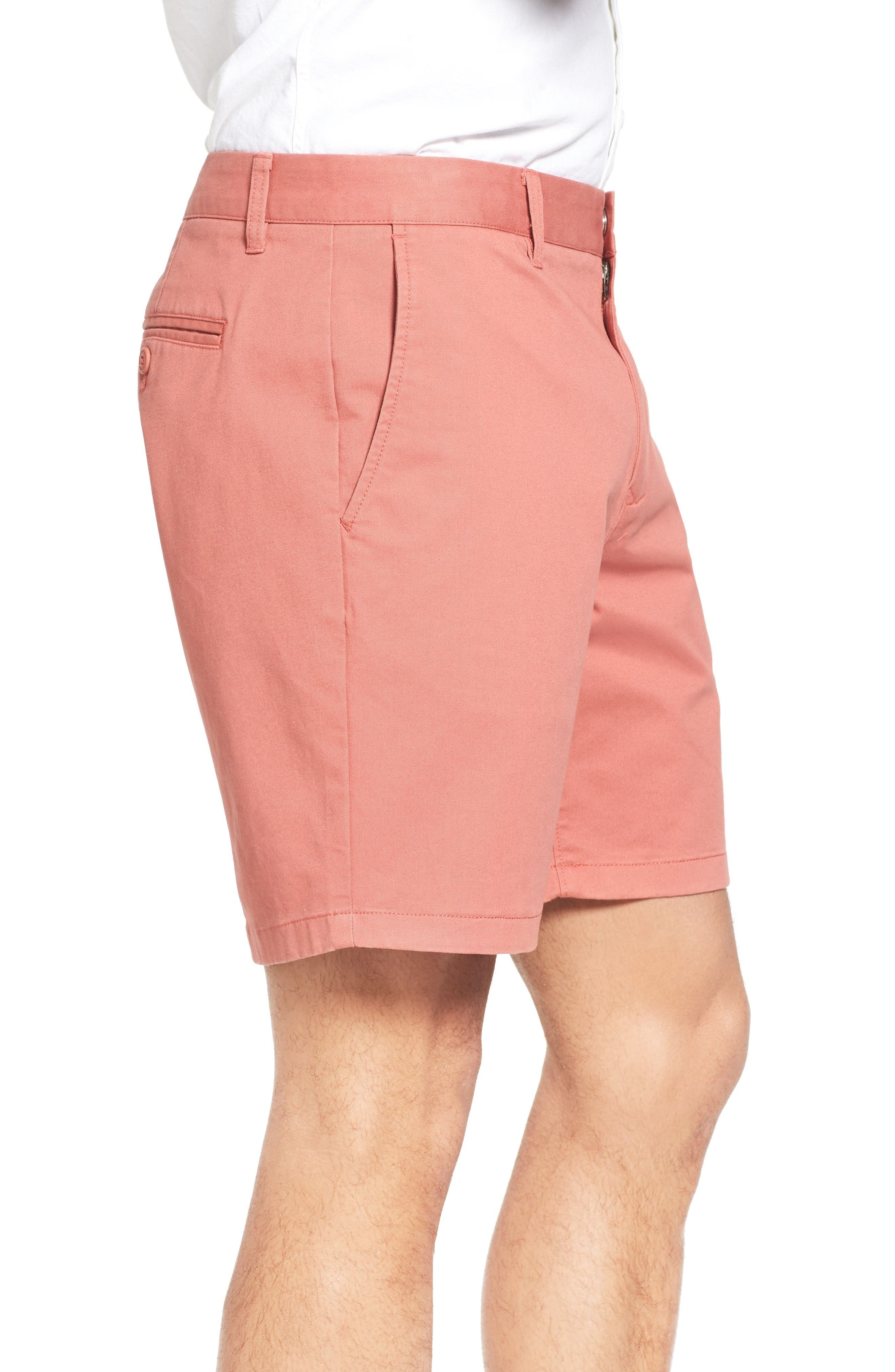 Stretch Washed Chino 7-Inch Shorts,                             Alternate thumbnail 3, color,                             Rich Coral