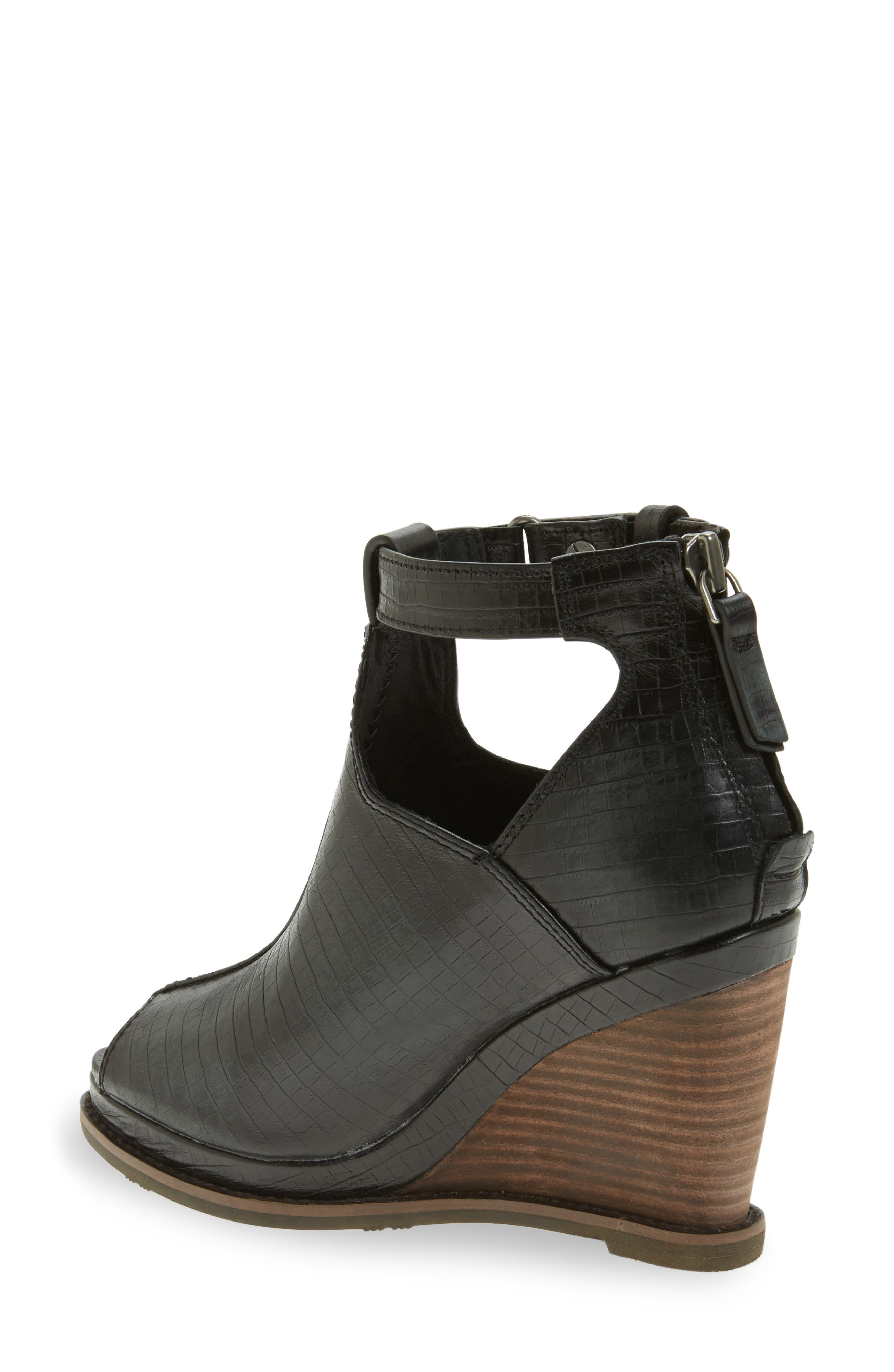 Backstage Wedge Bootie,                             Alternate thumbnail 2, color,                             Black Leather